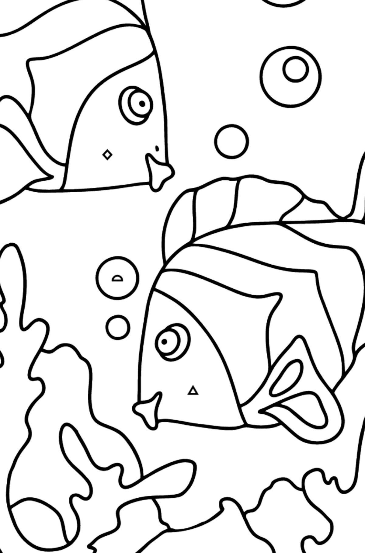 Coloring Page - Fish are Playing Happily - Coloring by Geometric Shapes for Kids