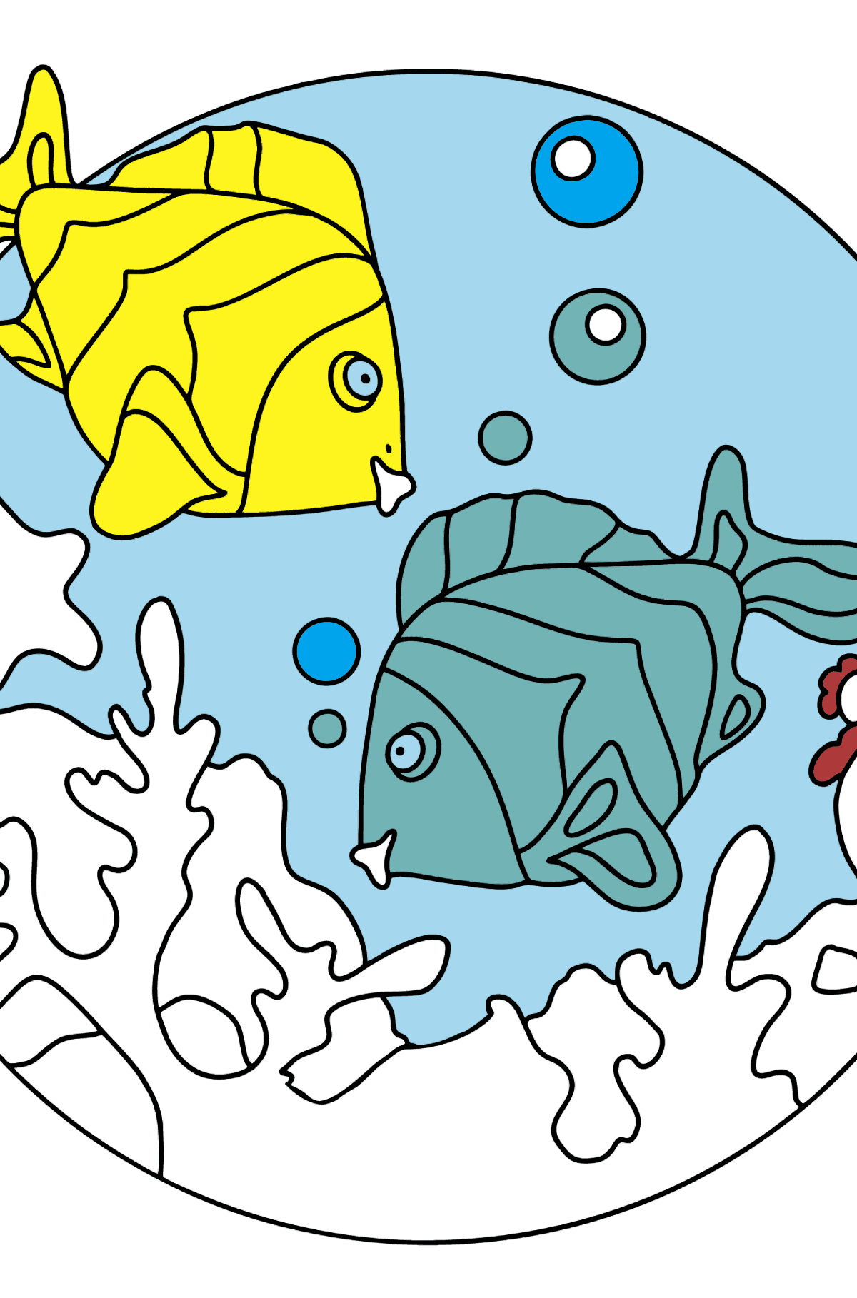 Coloring Page - Fish are Playing Happily - Coloring Pages for Kids