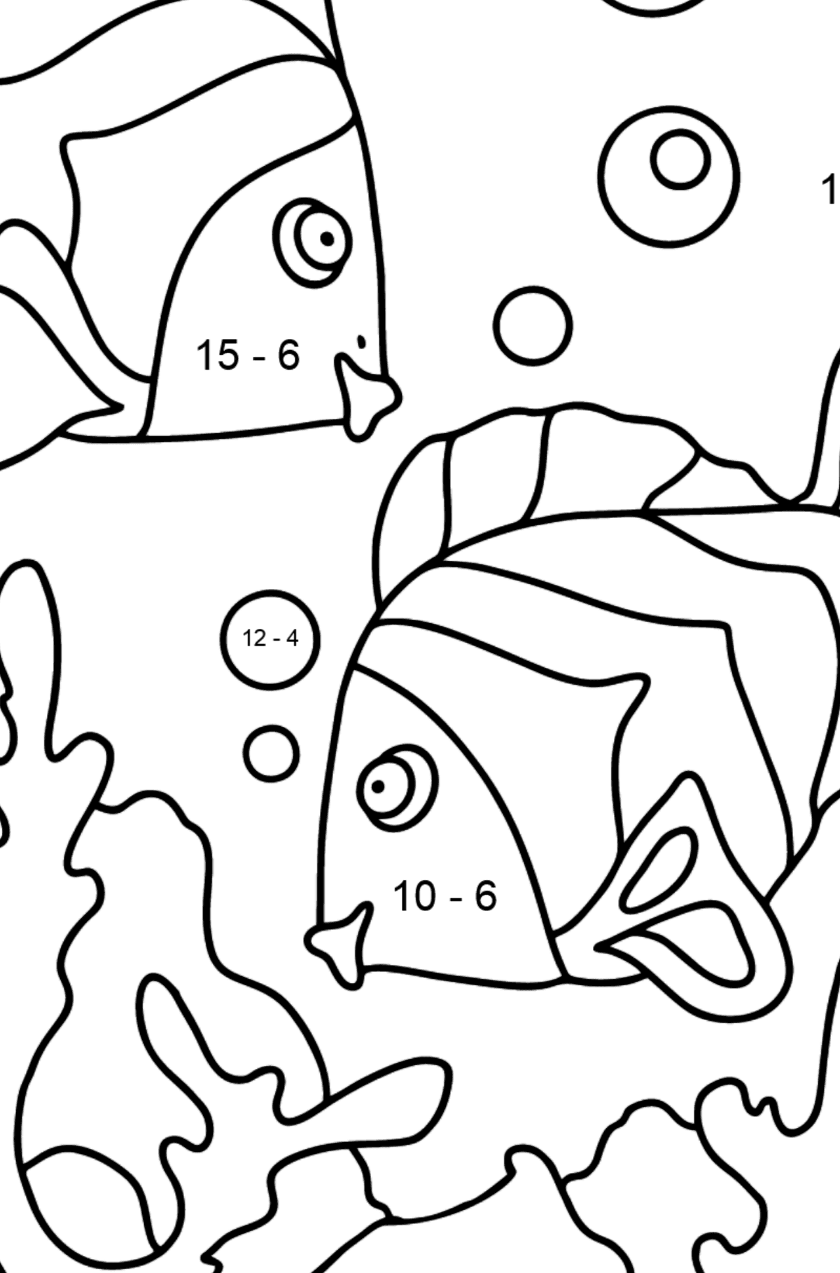 Coloring Page - Fish are Playing Happily - Math Coloring - Subtraction for Kids