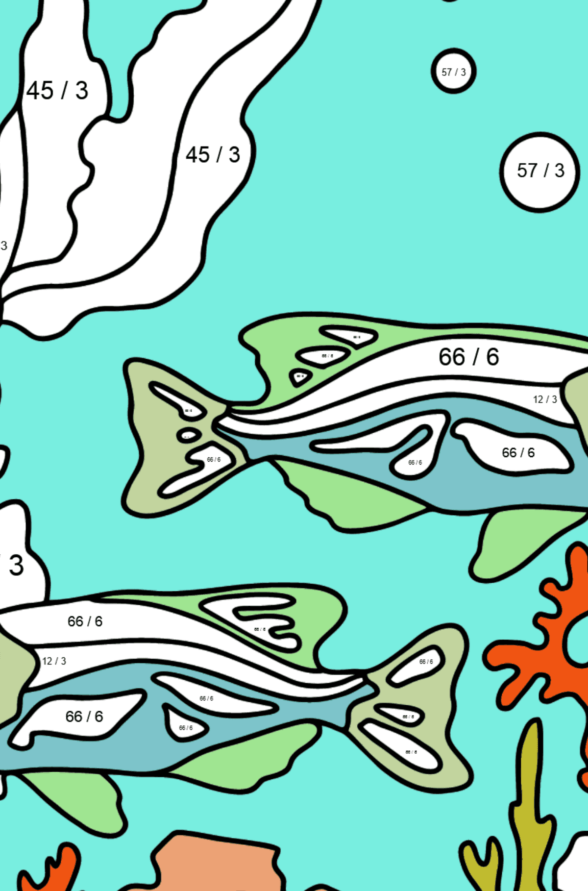 Two Fish Coloring Page - Fish are Swimming Beautifully - Math Coloring - Division for Kids
