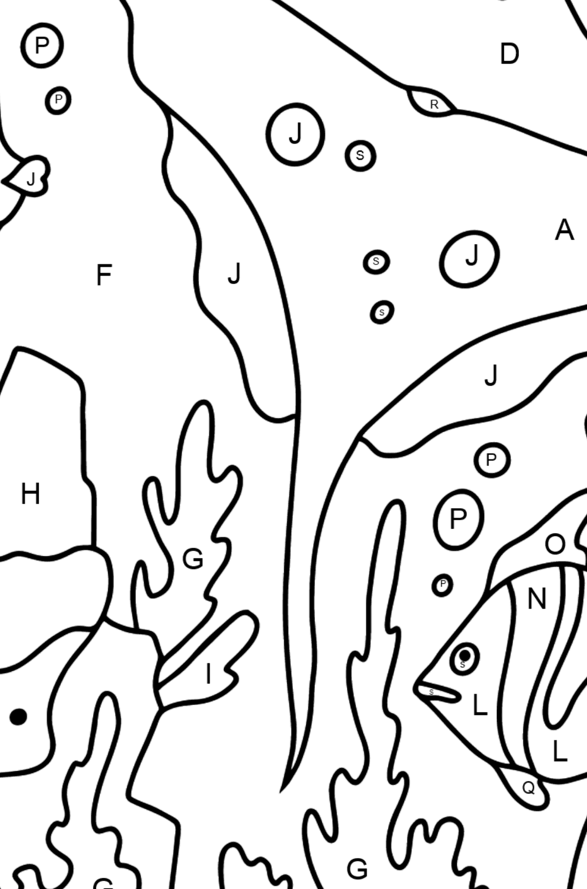 Coloring Page - Fish are Swimming past a Ray - Coloring by Letters for Kids