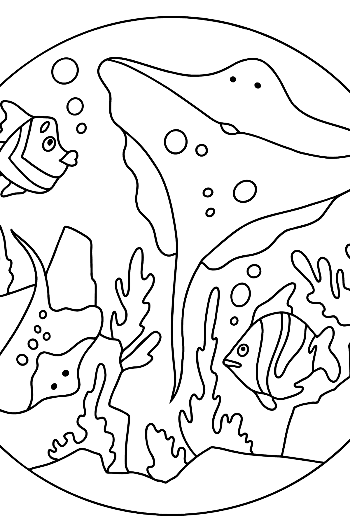 Coloring Page - Fish are Swimming past a Ray - Coloring Pages for Kids