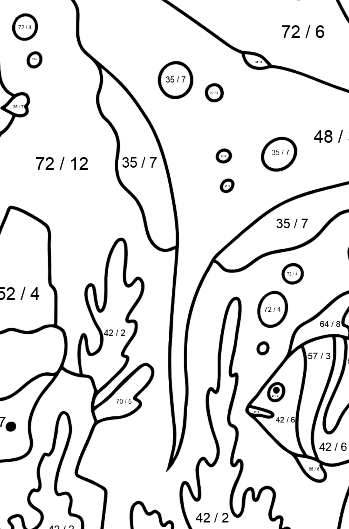 Coloring Page - Fish are Swimming past a Ray - Math Coloring - Division for Kids