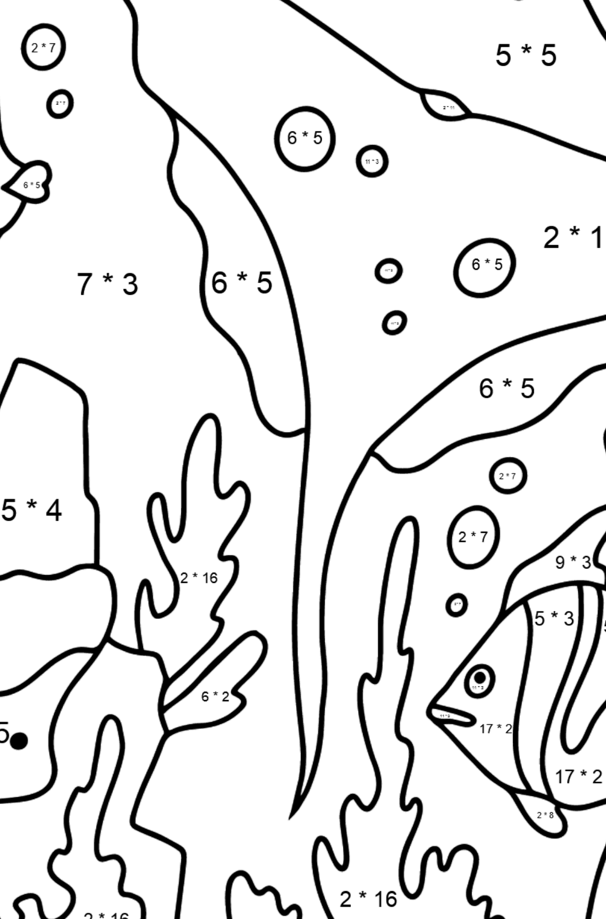 Coloring Page - Fish are Swimming past a Ray - Math Coloring - Multiplication for Kids