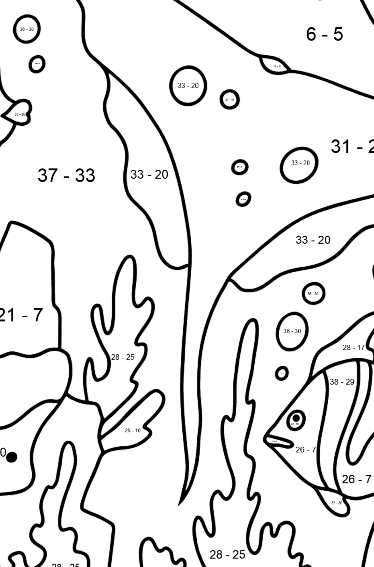 Coloring Page - Fish are Swimming past a Ray - Math Coloring - Subtraction for Kids