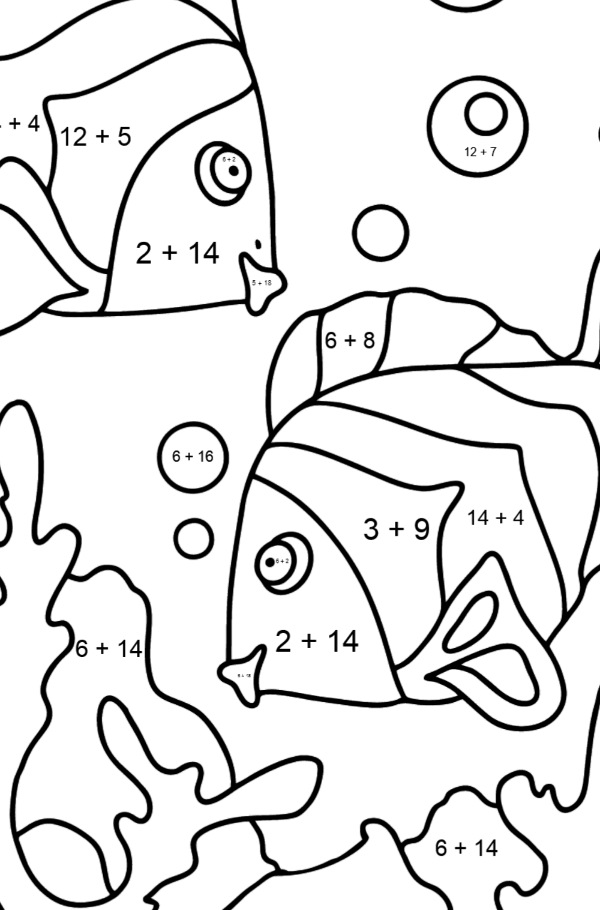 Coloring Page - Fish are Swimming Together - Math Coloring - Addition for Kids