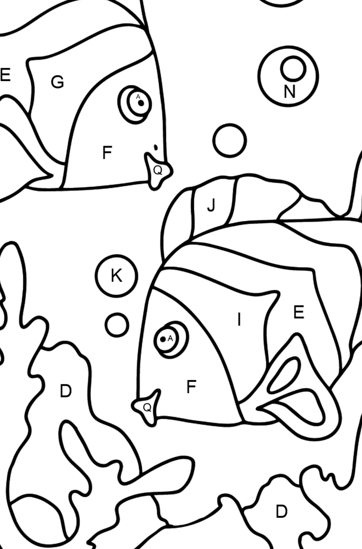Coloring Page - Fish are Swimming Together - Coloring by Letters for Kids