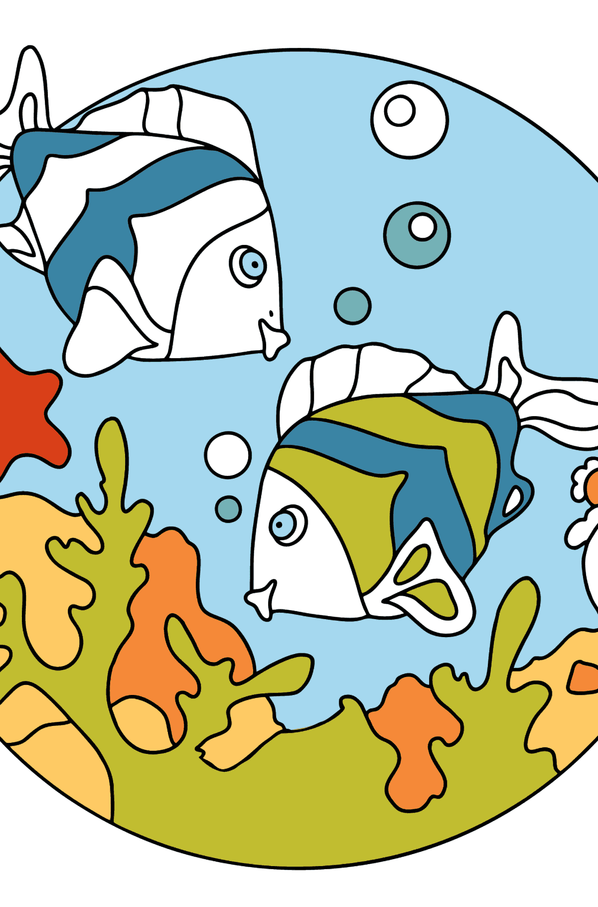 Coloring Page - Fish are Swimming Together - Coloring Pages for Kids
