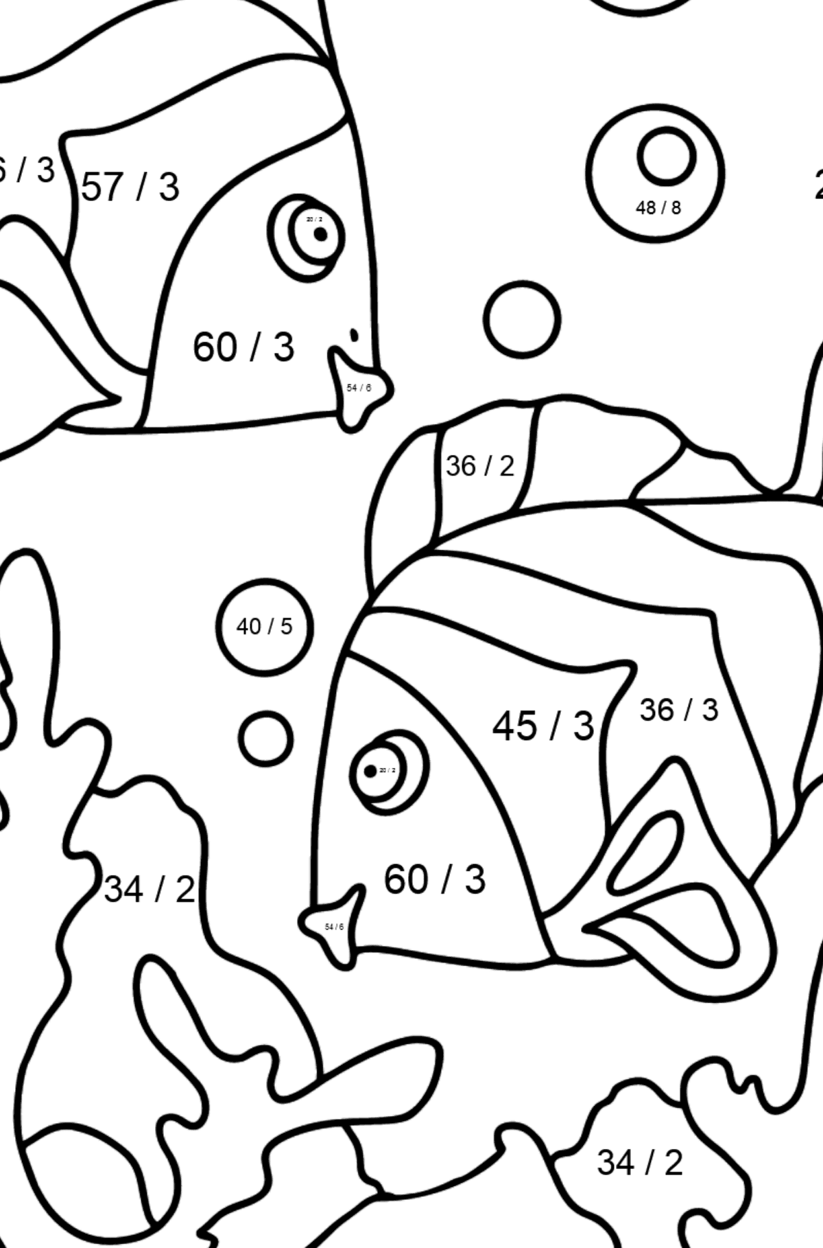 Coloring Page - Fish are Swimming Together - Math Coloring - Division for Kids