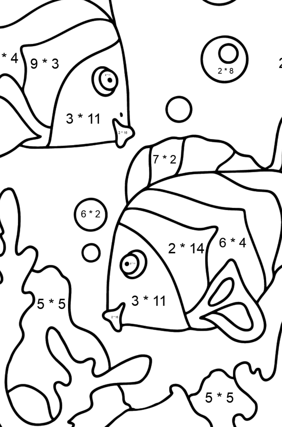 Coloring Page - Fish are Swimming Together - Math Coloring - Multiplication for Kids