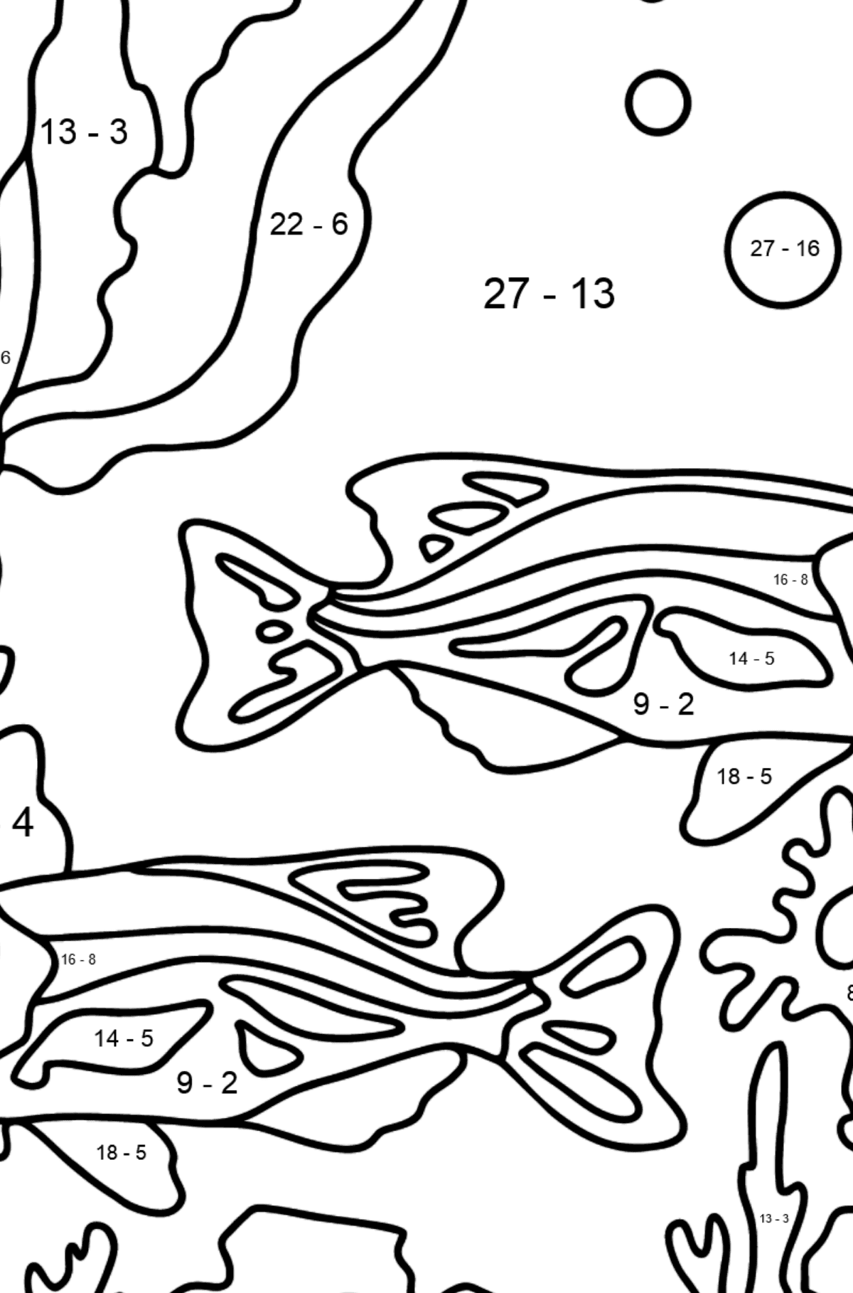 Coloring Page - Fish are Swimming Together Peacefully - Math Coloring - Subtraction for Kids