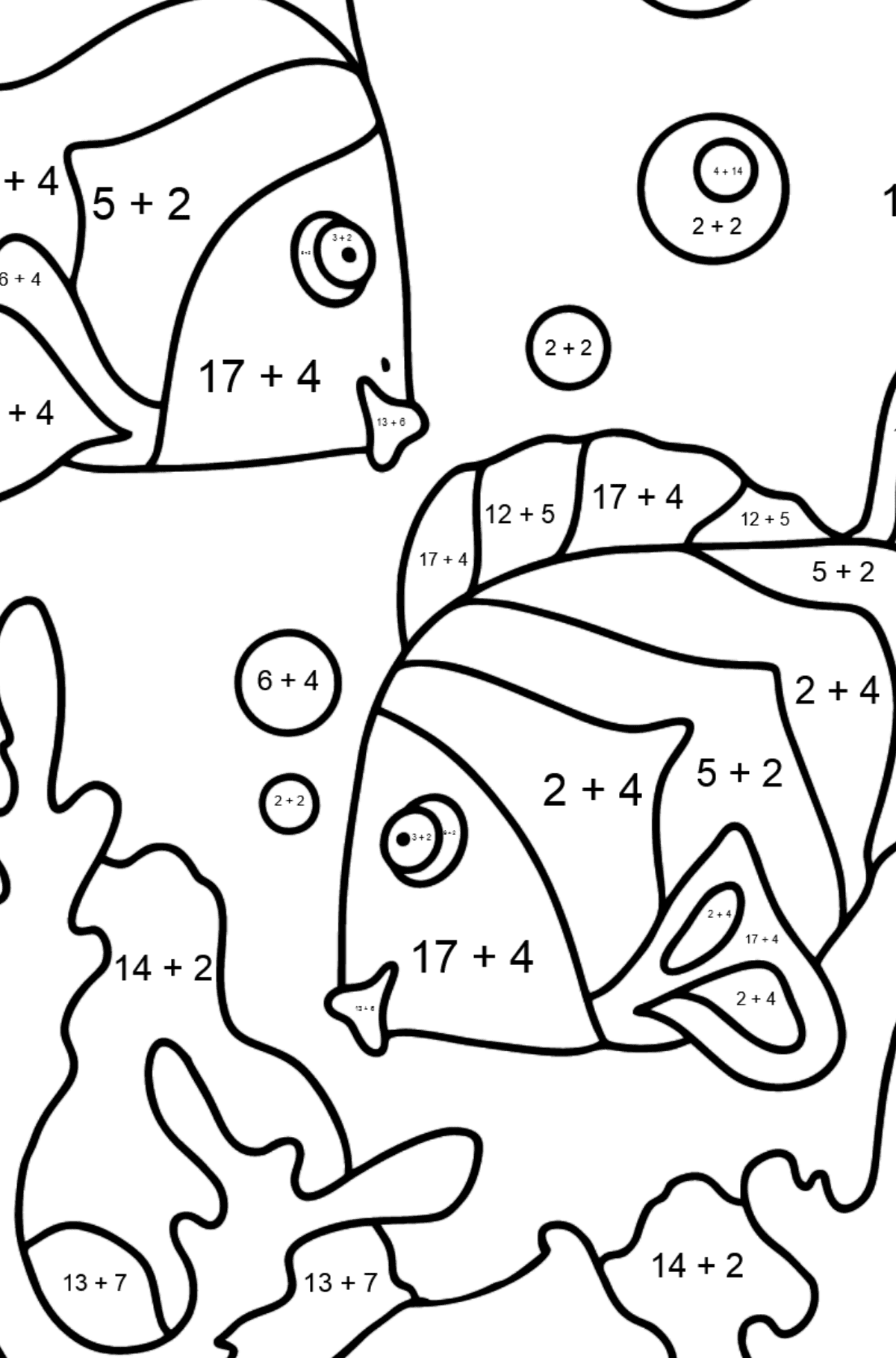 Coloring Page - Fish are Swimming Very Energetically - Math Coloring - Addition for Kids