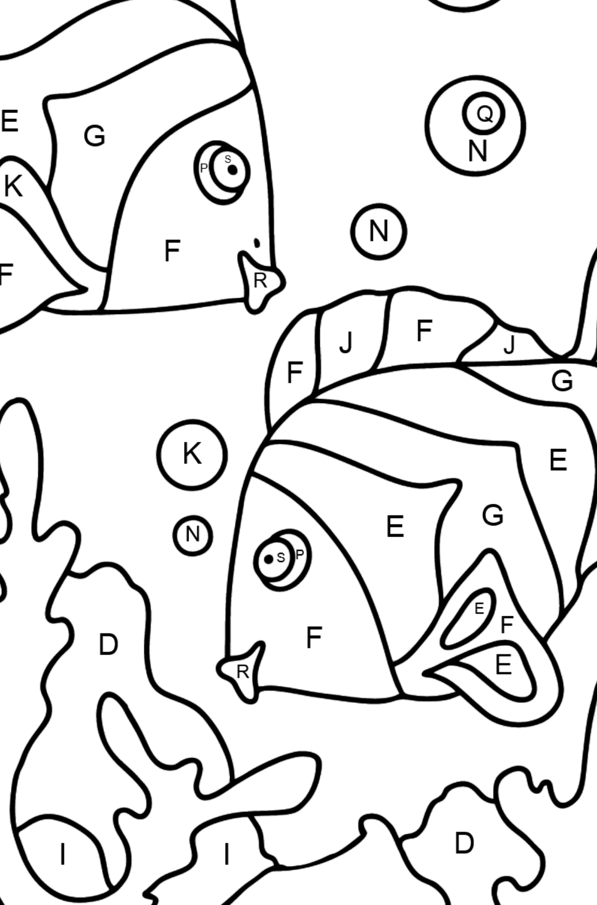 Coloring Page - Fish are Swimming Very Energetically - Coloring by Letters for Kids