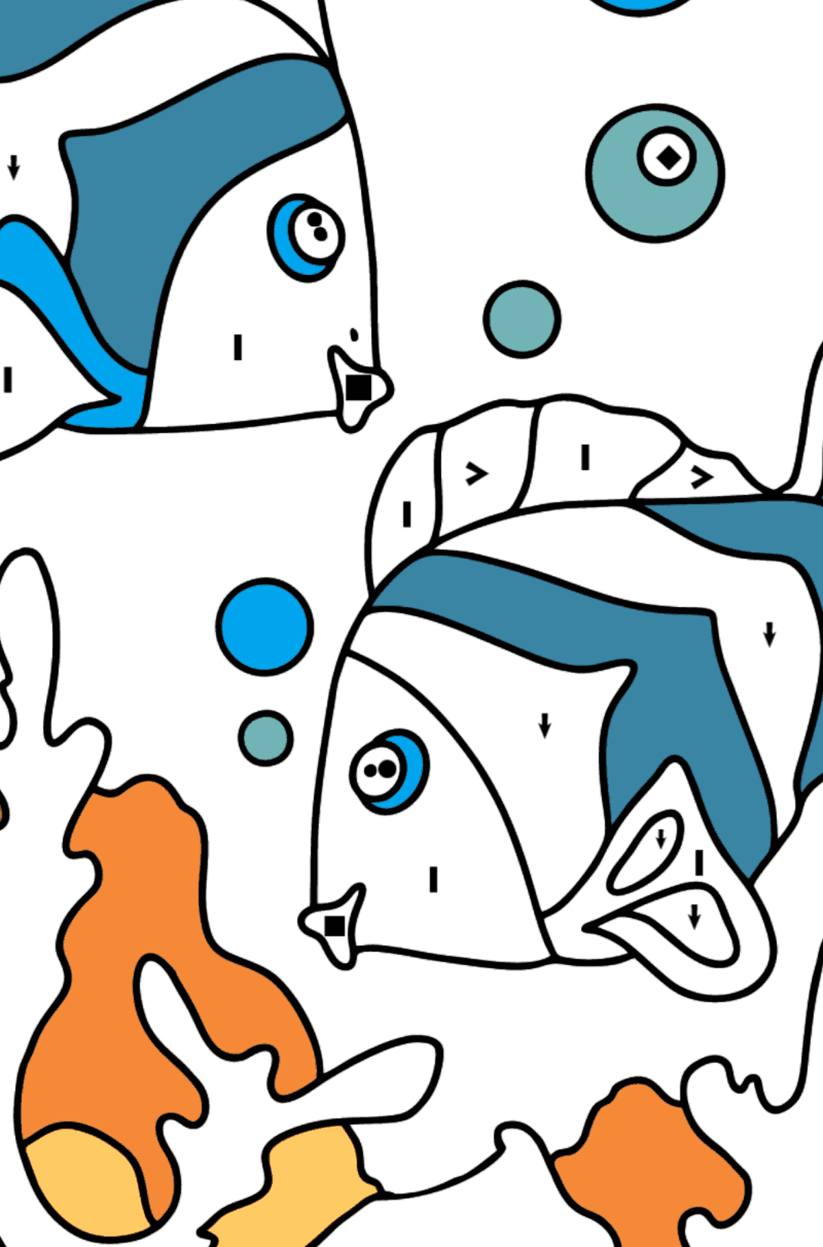 Coloring Page - Fish are Swimming Very Energetically - Coloring by Symbols for Kids