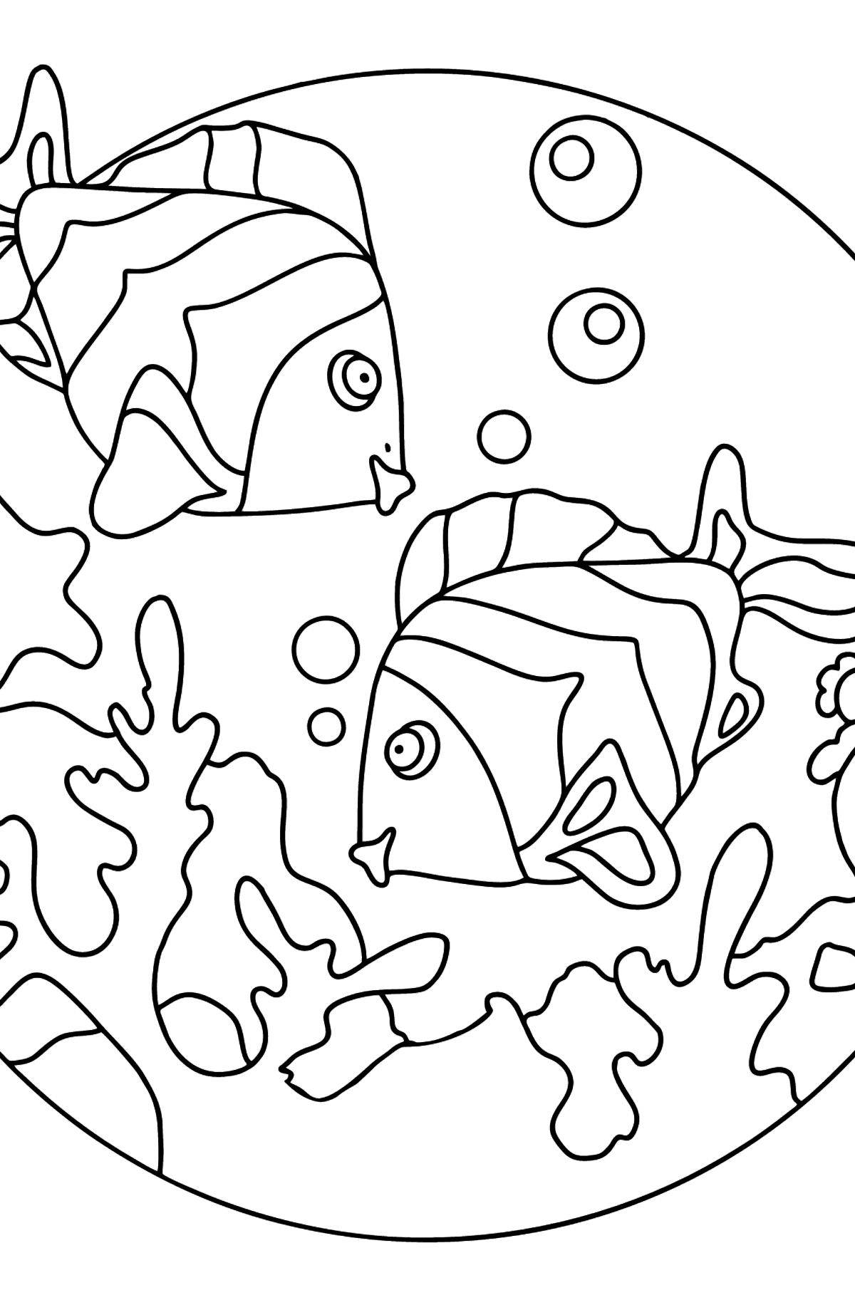 Malvolrage - Fische schwimmen sehr energisch - Malvorlagen für Kinder