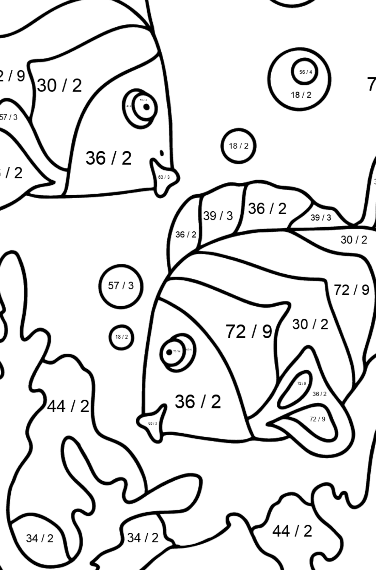 Coloring Page - Fish are Swimming Very Energetically - Math Coloring - Division for Kids