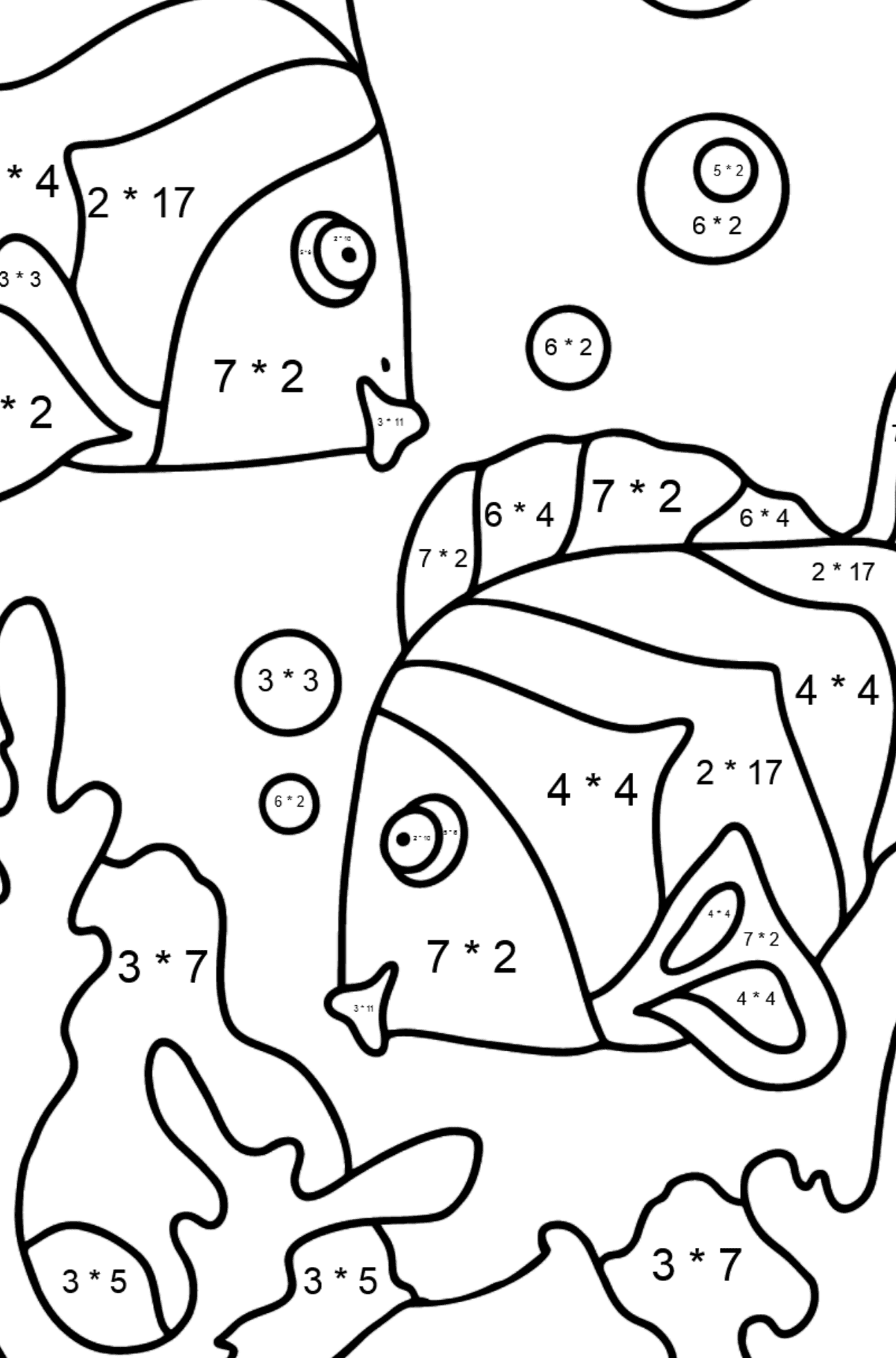 Coloring Page - Fish are Swimming Very Energetically - Math Coloring - Multiplication for Kids