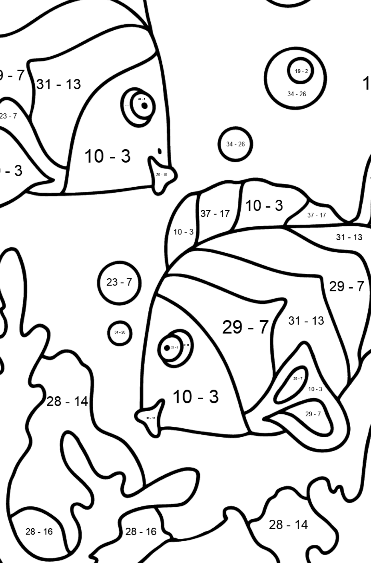 Coloring Page - Fish are Swimming Very Energetically - Math Coloring - Subtraction for Kids