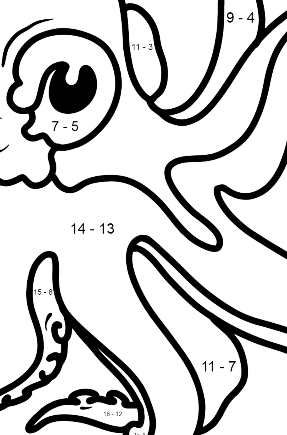 Octopus coloring page - Math Coloring - Subtraction for Kids