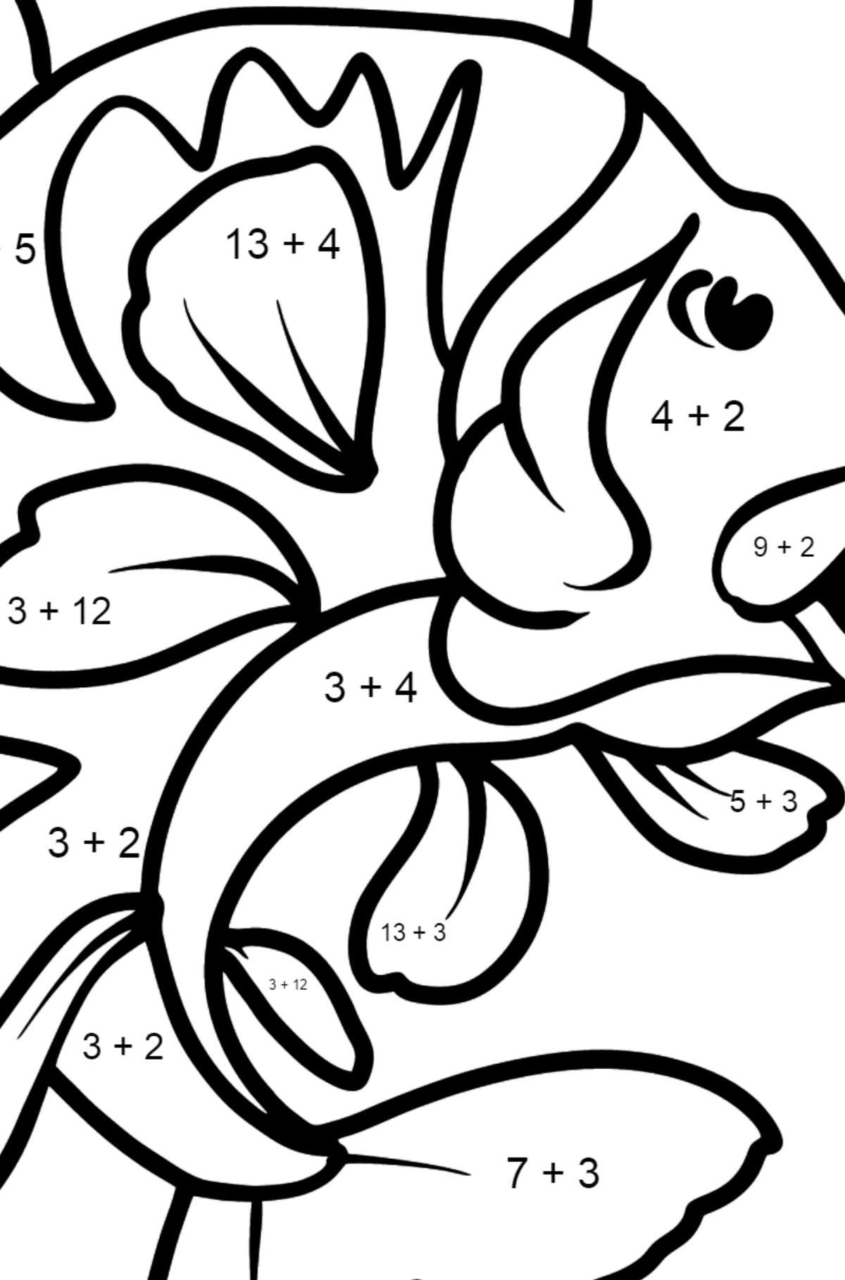 Perch coloring page - Math Coloring - Addition for Kids