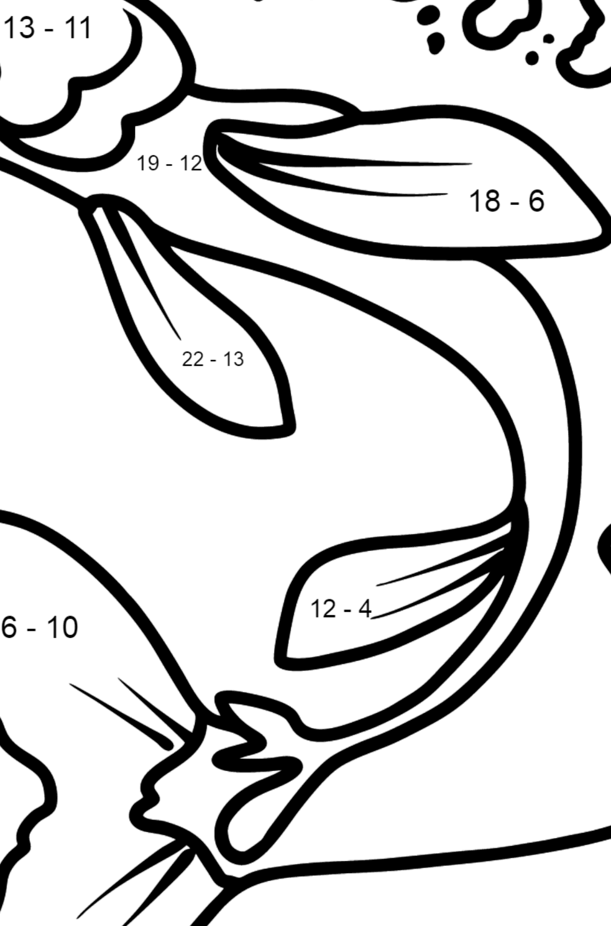 Pike coloring page - Math Coloring - Subtraction for Kids