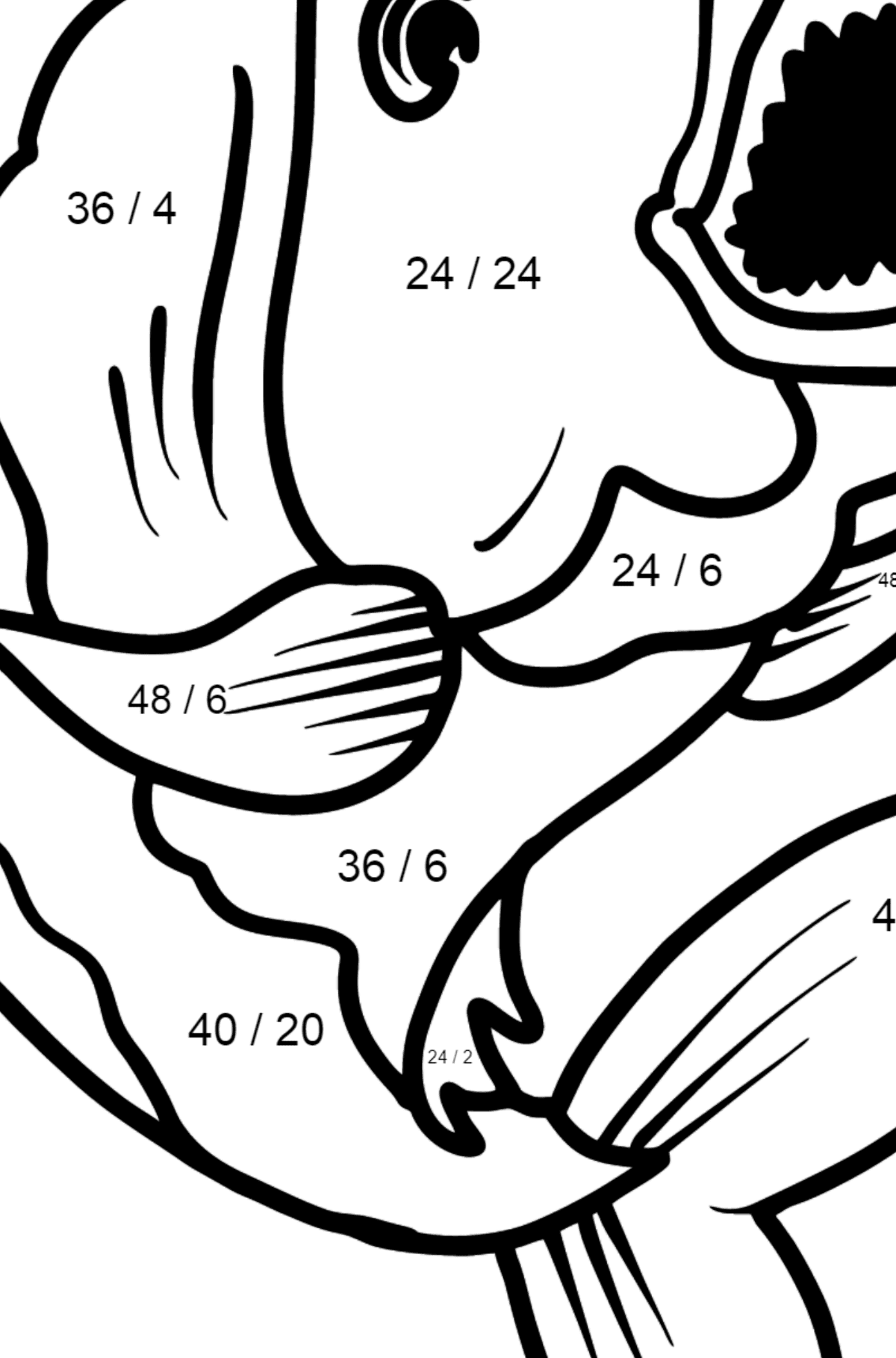 Piranha coloring page - Math Coloring - Division for Kids