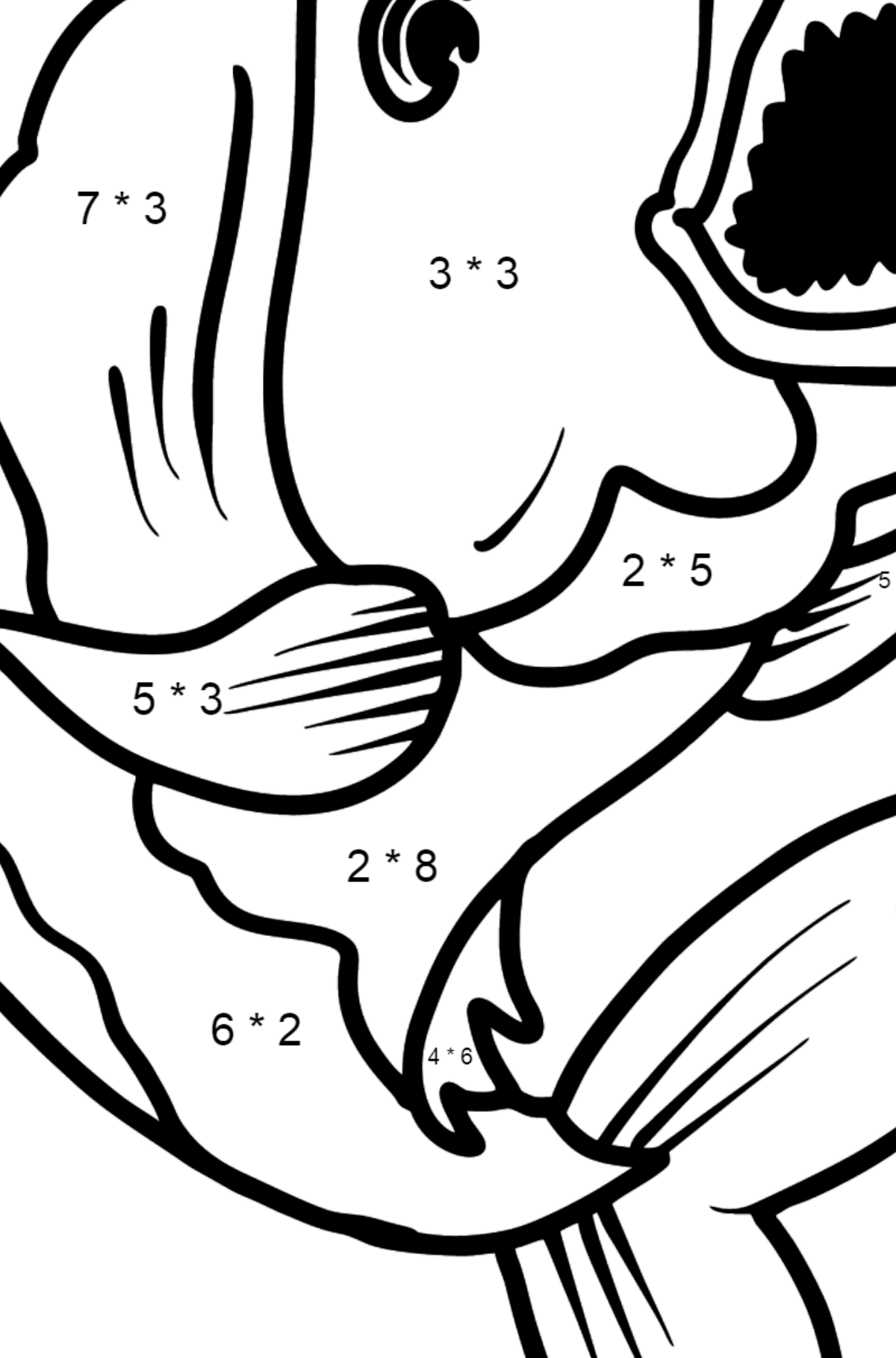 Piranha coloring page - Math Coloring - Multiplication for Kids