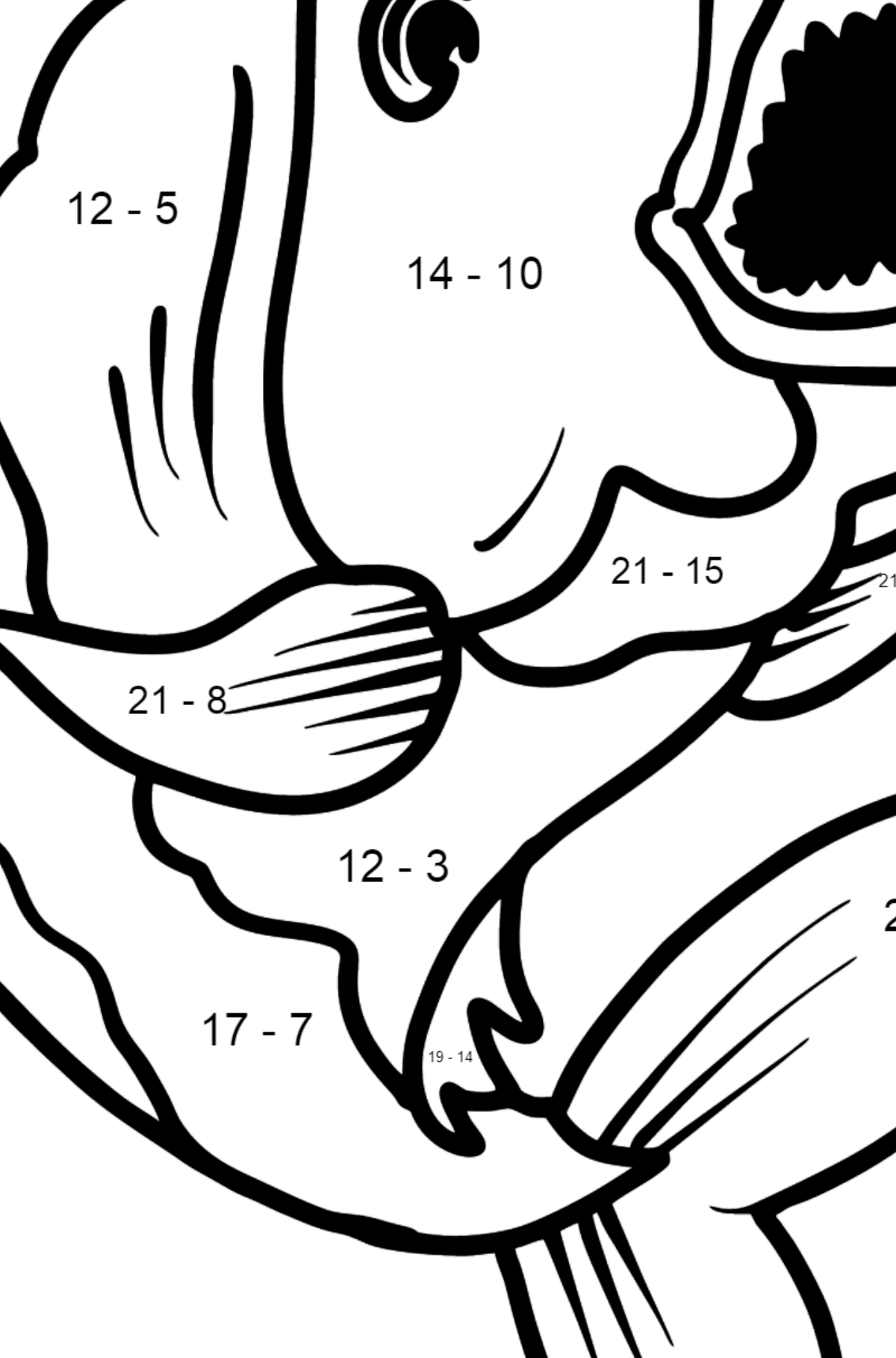 Piranha coloring page - Math Coloring - Subtraction for Kids