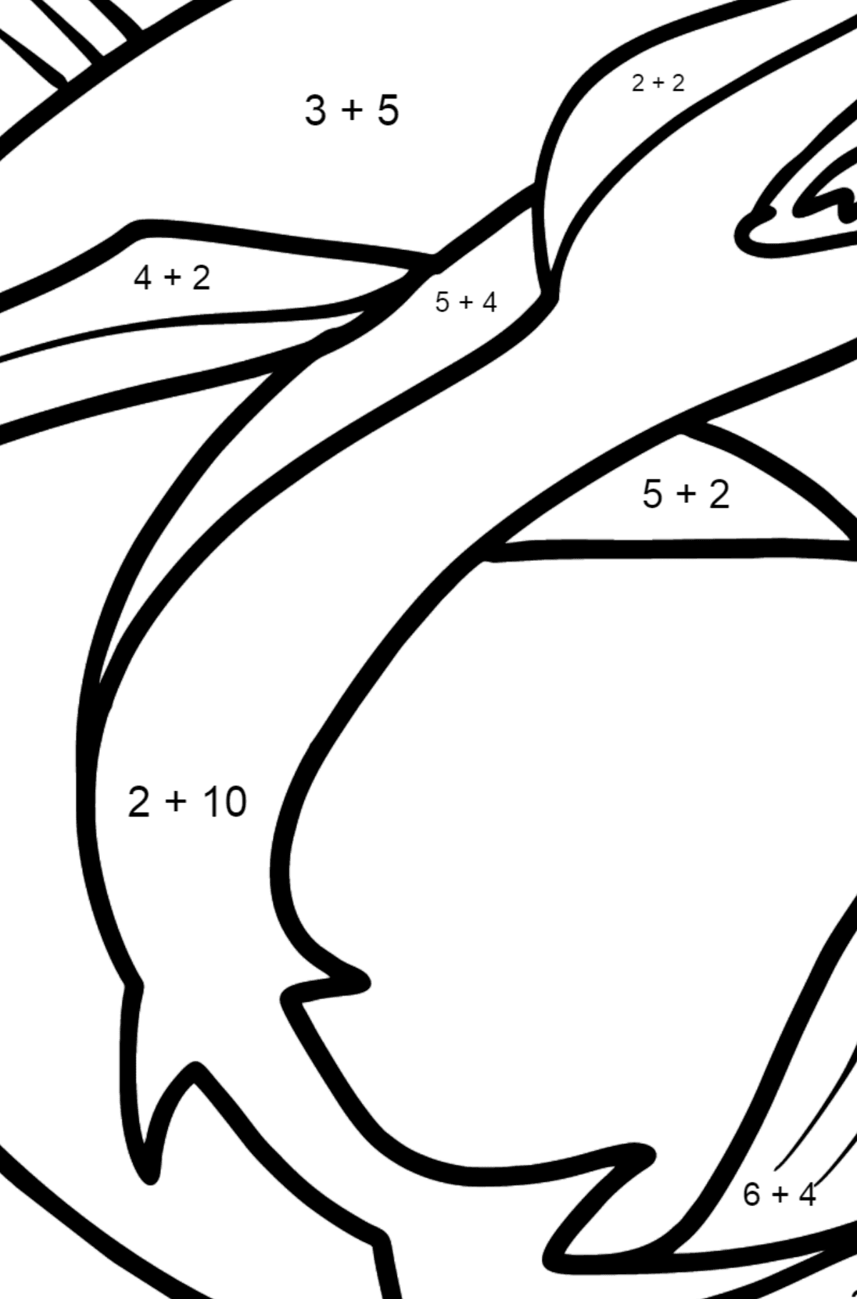 Shark coloring page - Math Coloring - Addition for Kids