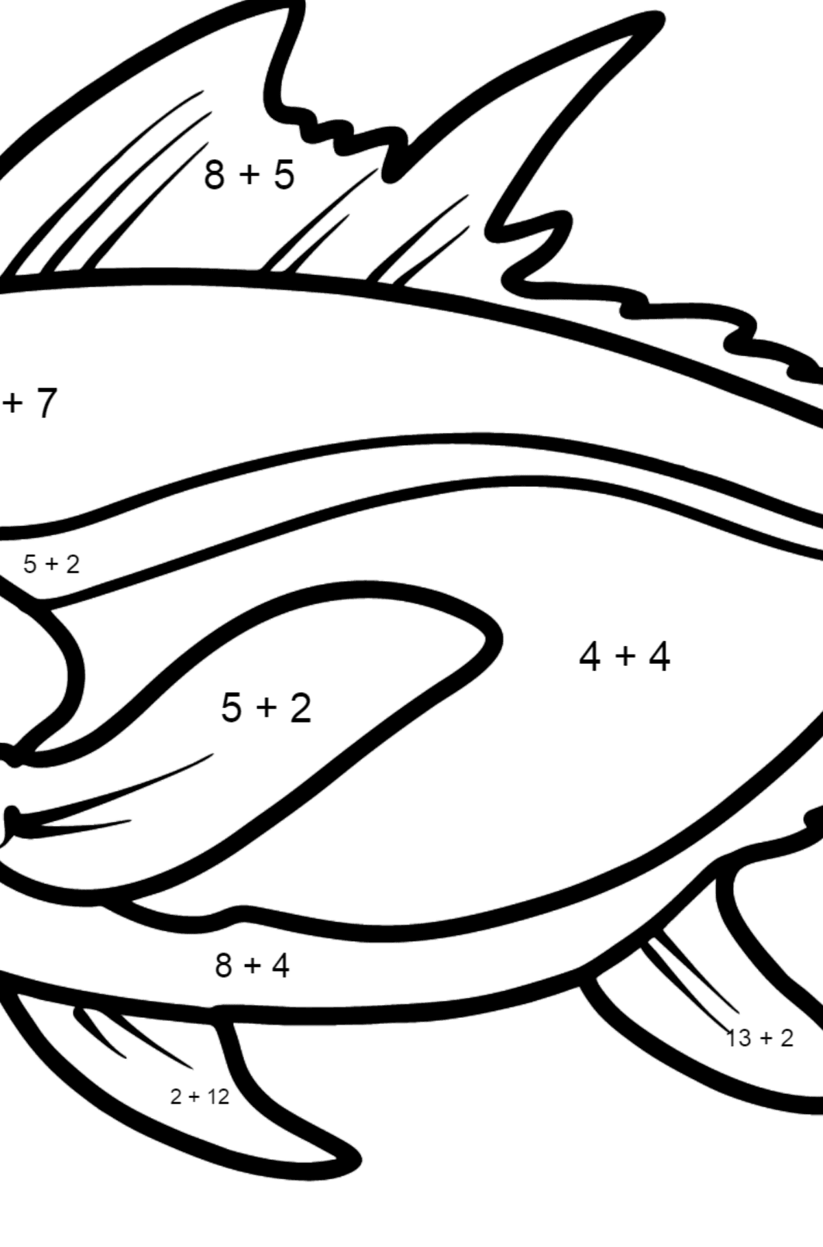 Tuna coloring page - Math Coloring - Addition for Kids