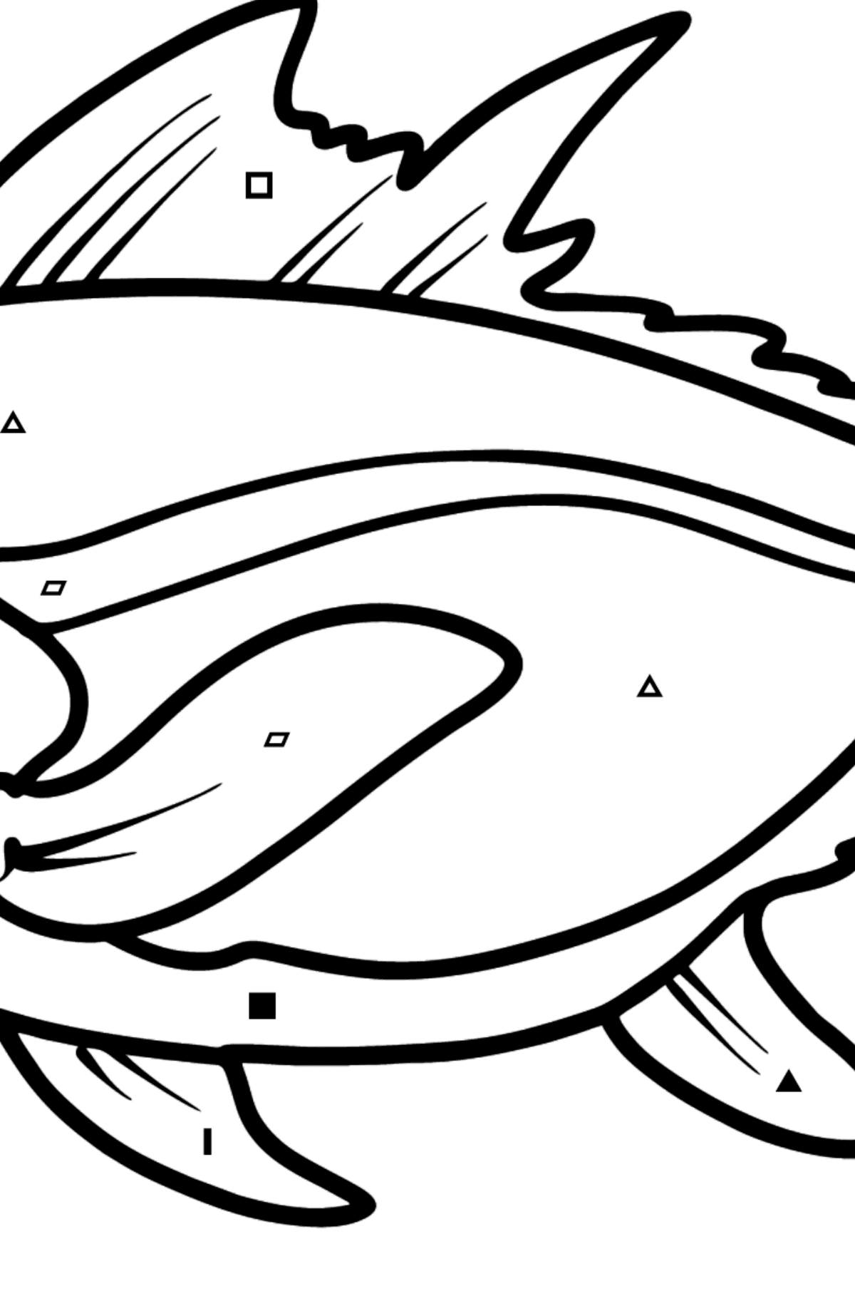 Tuna coloring page - Coloring by Symbols and Geometric Shapes for Kids
