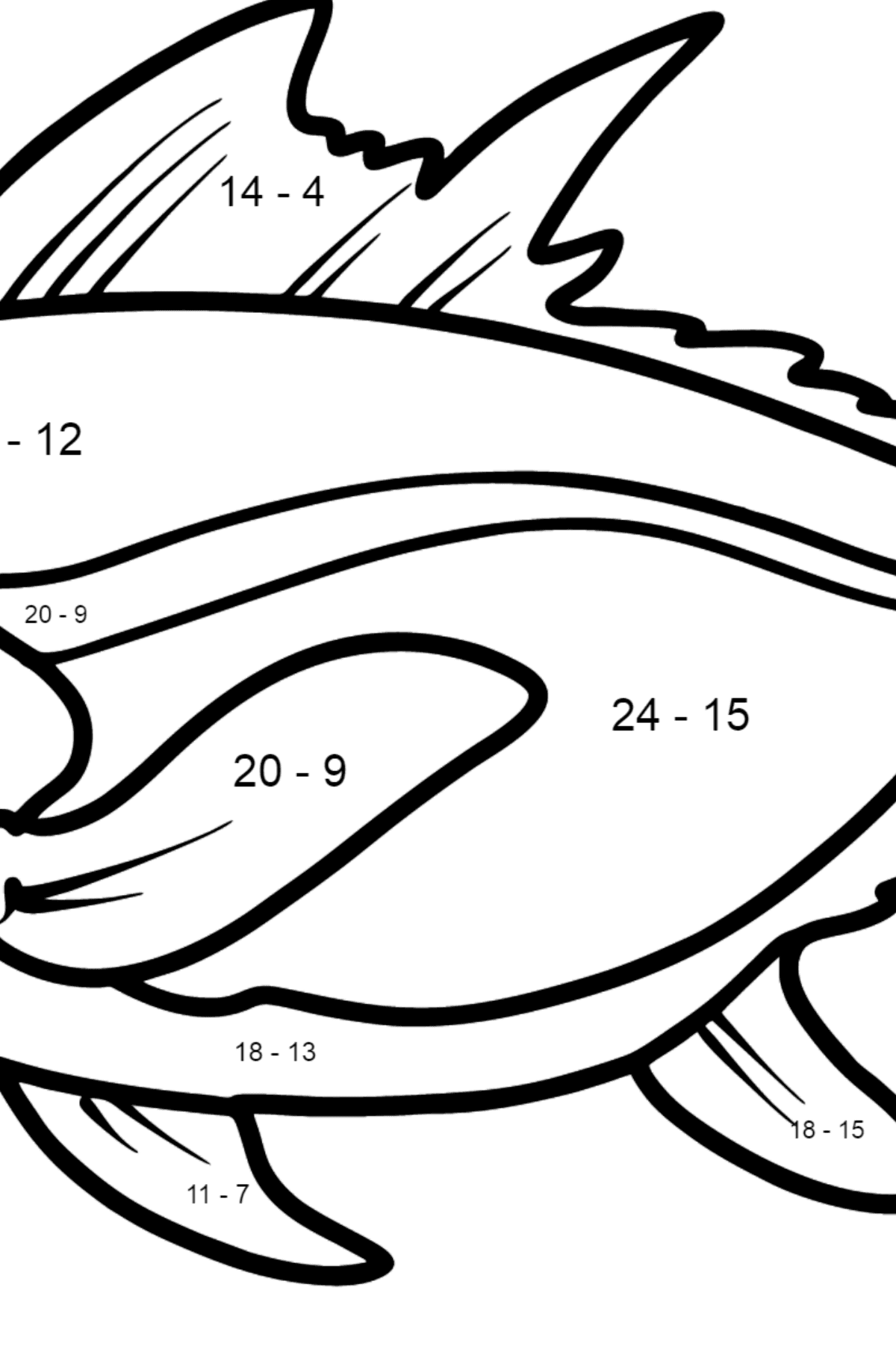 Tuna coloring page - Math Coloring - Subtraction for Kids