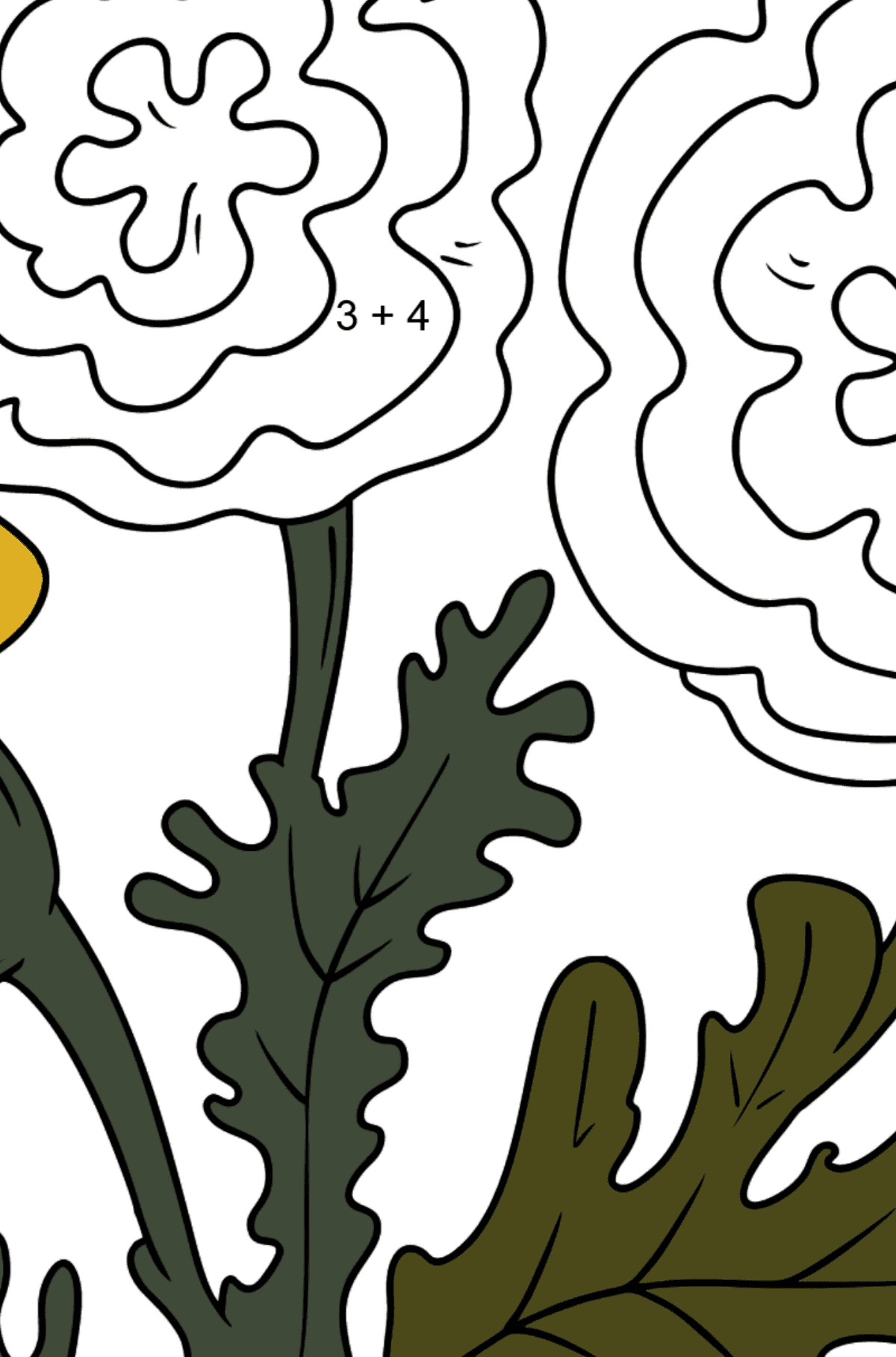 Coloring Page - Autumn flowers - Math Coloring - Addition for Kids