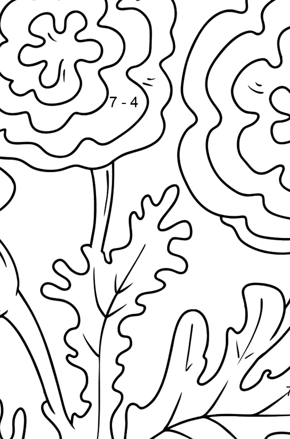Coloring Page - Autumn flowers - Math Coloring - Subtraction for Kids