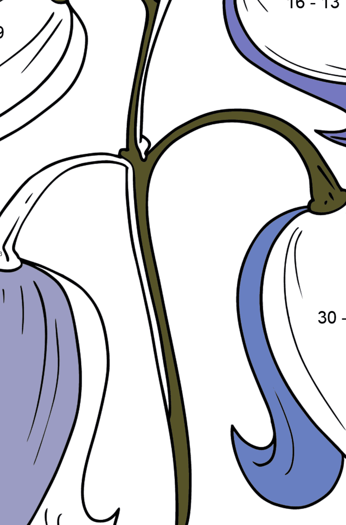 Flower Coloring Page - Beautiful bells - Math Coloring - Subtraction for Kids