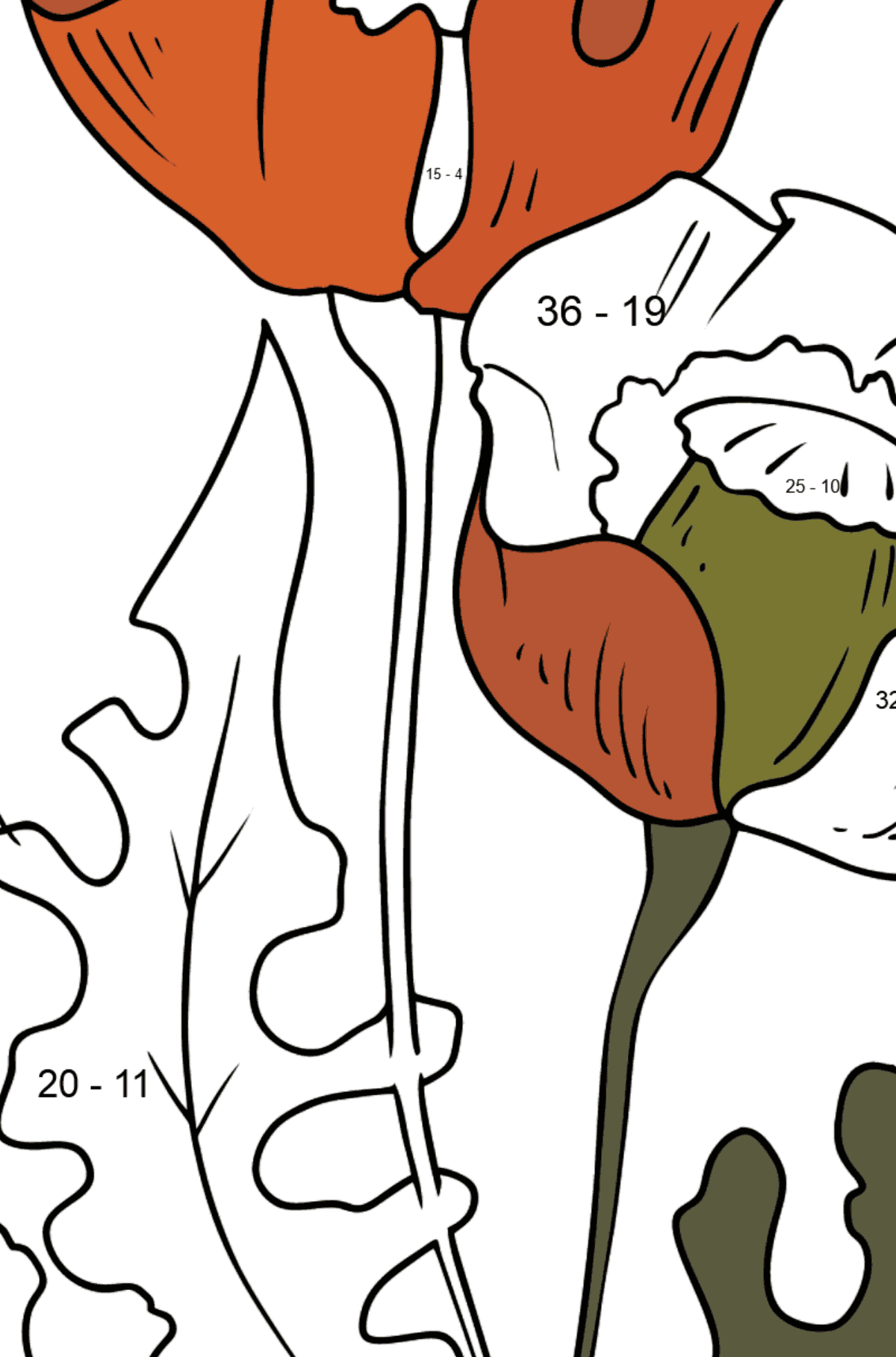 Flower Coloring Page - Beautiful Poppies - Math Coloring - Subtraction for Kids