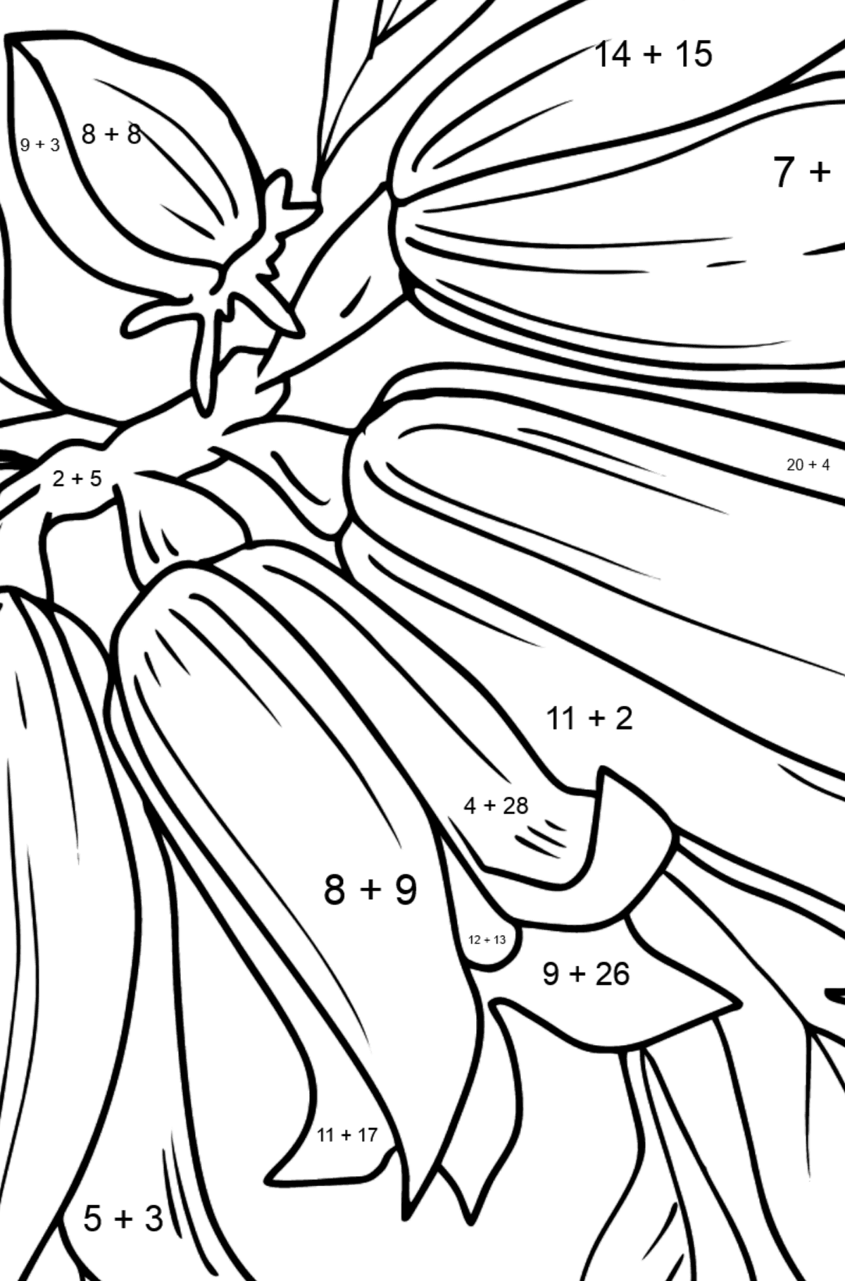 Flower Coloring Page - Bells - Math Coloring - Addition for Kids