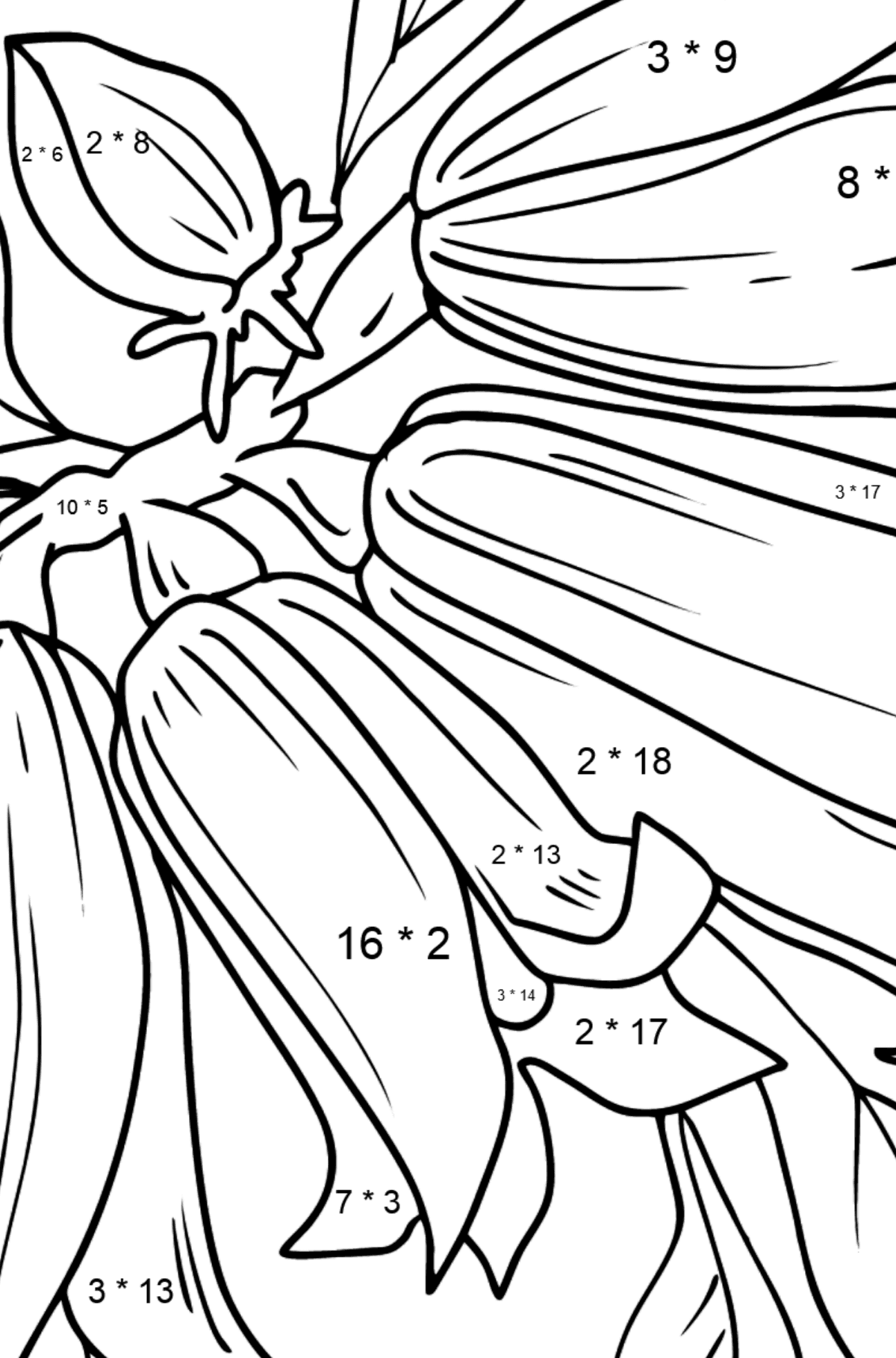 Flower Coloring Page - Bells - Math Coloring - Multiplication for Kids