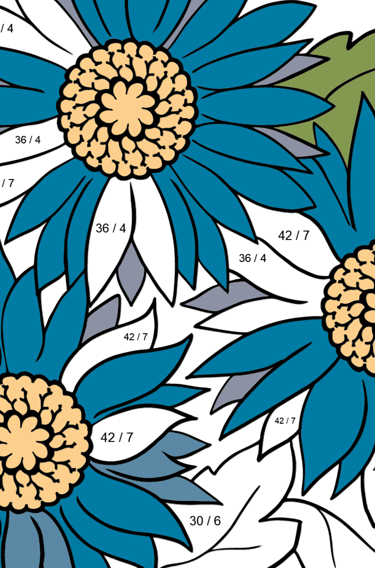 Flower Coloring Page - A Blue Gerbera - Math Coloring - Division for Kids
