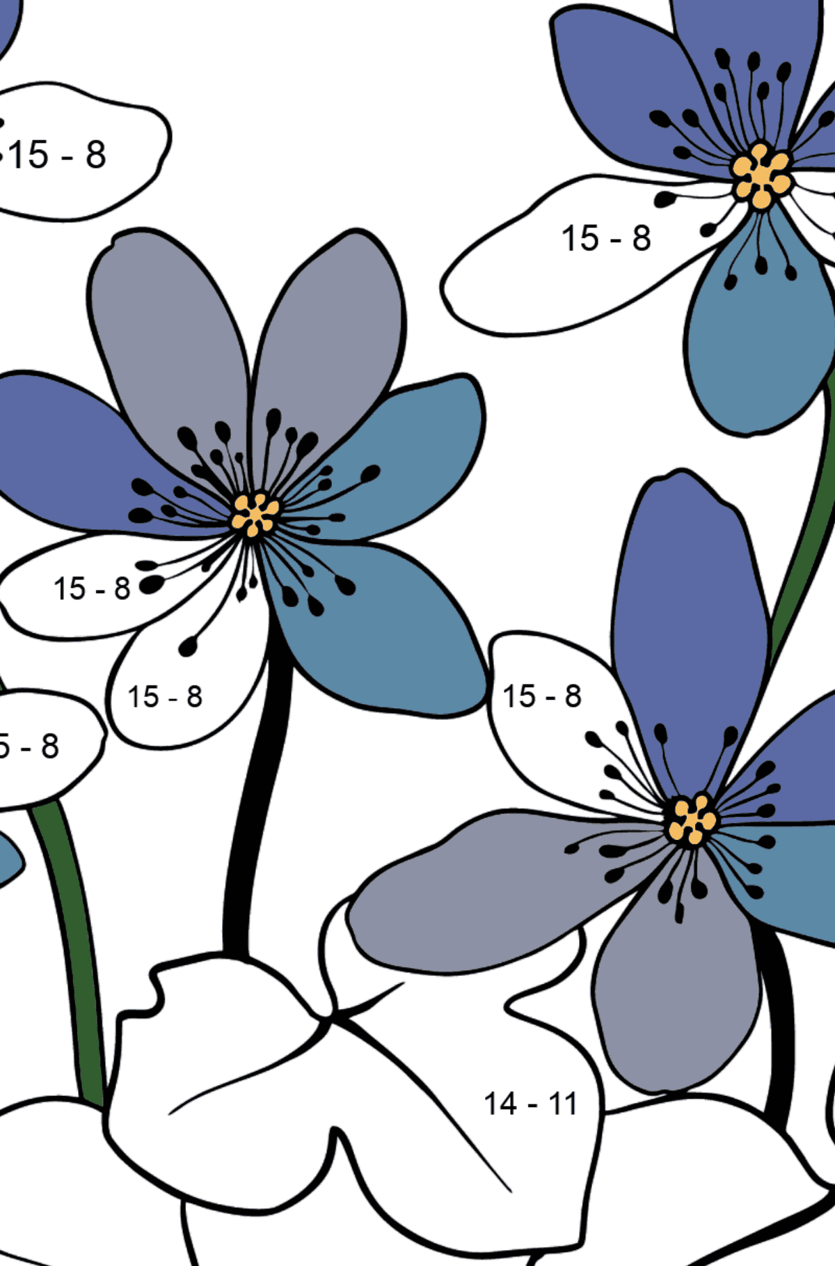 Flower Coloring Page - A Hepatica with Blue Petals - Math Coloring - Subtraction for Kids