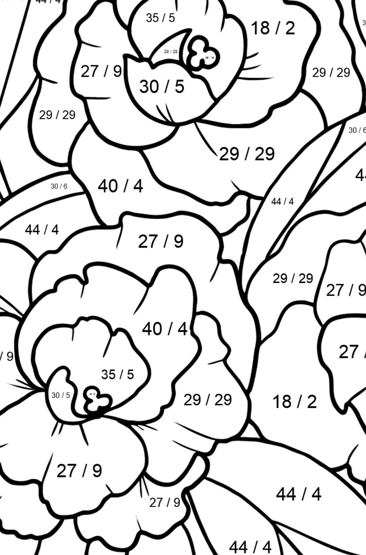 Flower Coloring Page - A Peony Blossom - Math Coloring - Division for Kids