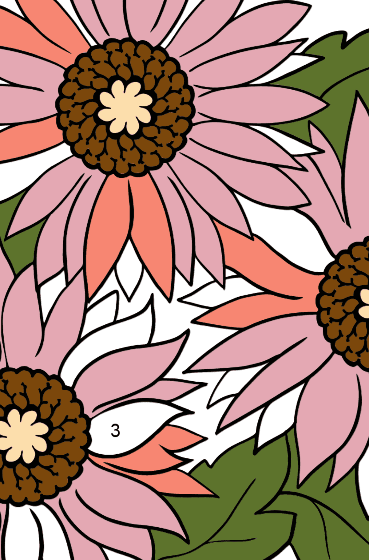 Coloring Flowers for the Youngest Children - Pink Gerbera - Coloring by Numbers for Kids