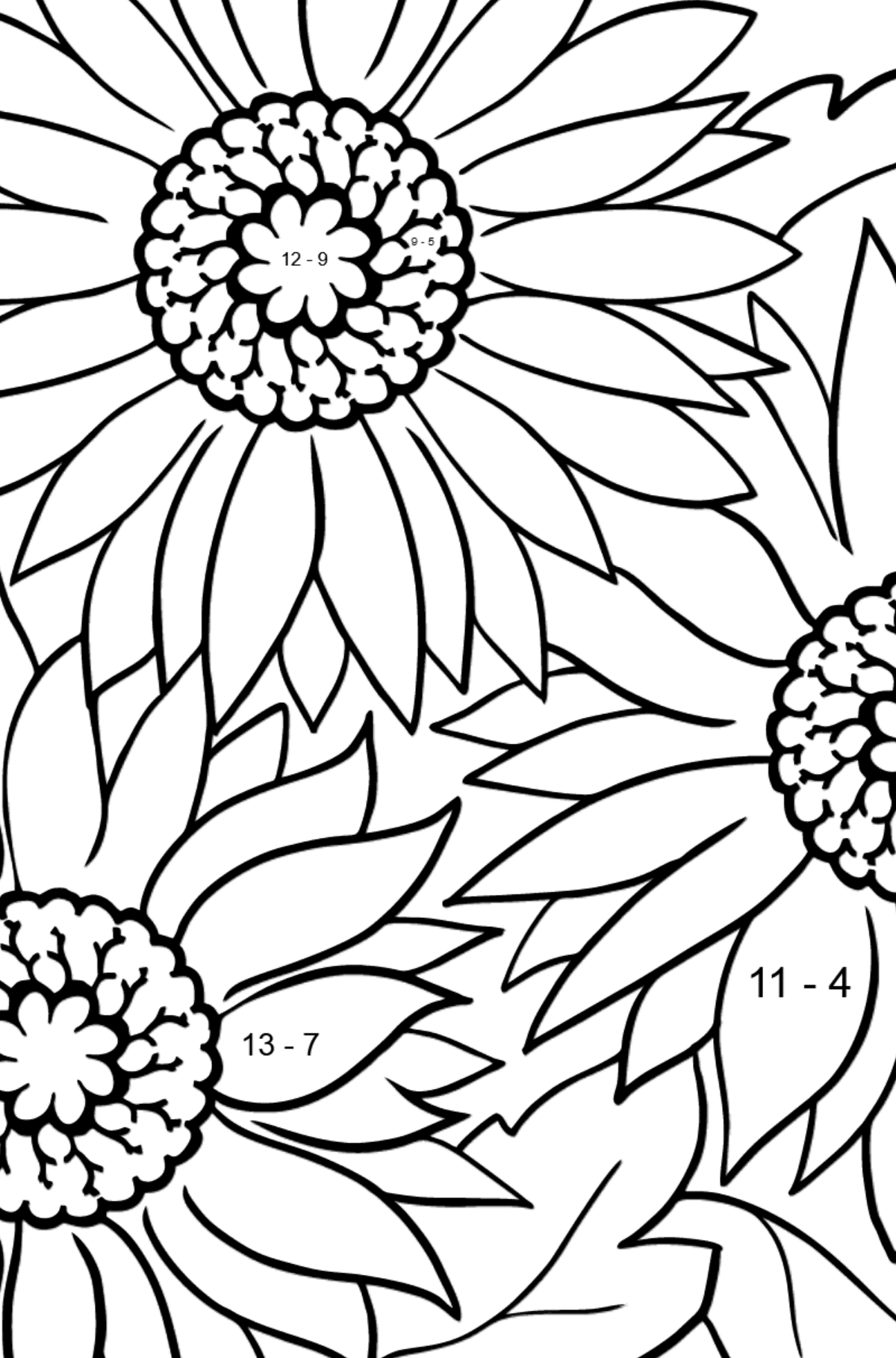 Coloring Flowers for the Youngest Children - Pink Gerbera - Math Coloring - Subtraction for Kids