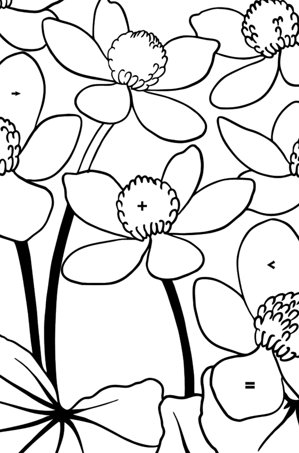 Flower Coloring Page - A Yellow and Red Marsh Marigold - Coloring by Symbols for Kids