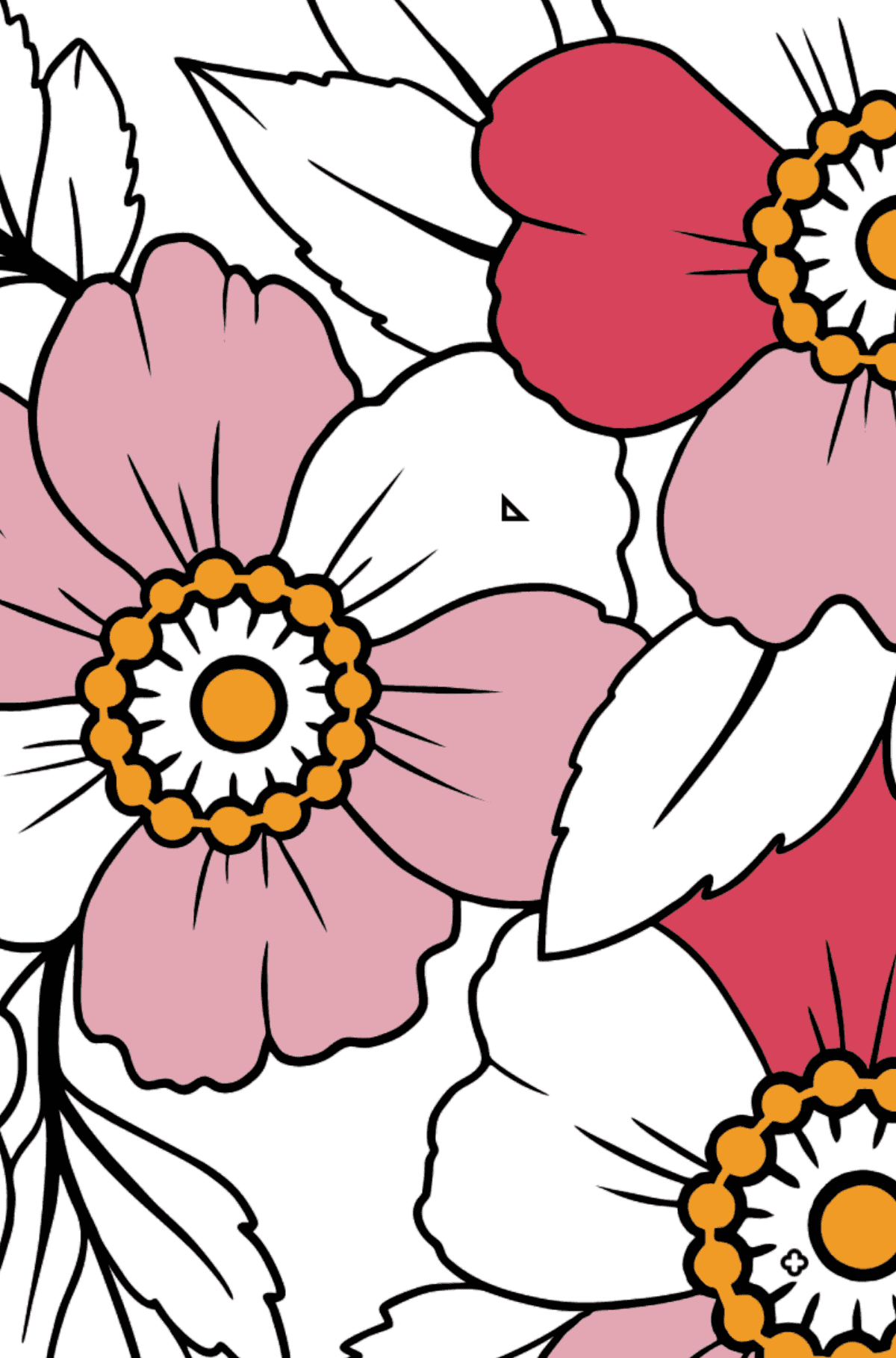 Flower Coloring Page - Japanese Velvet Anemone - Coloring by Geometric Shapes for Kids