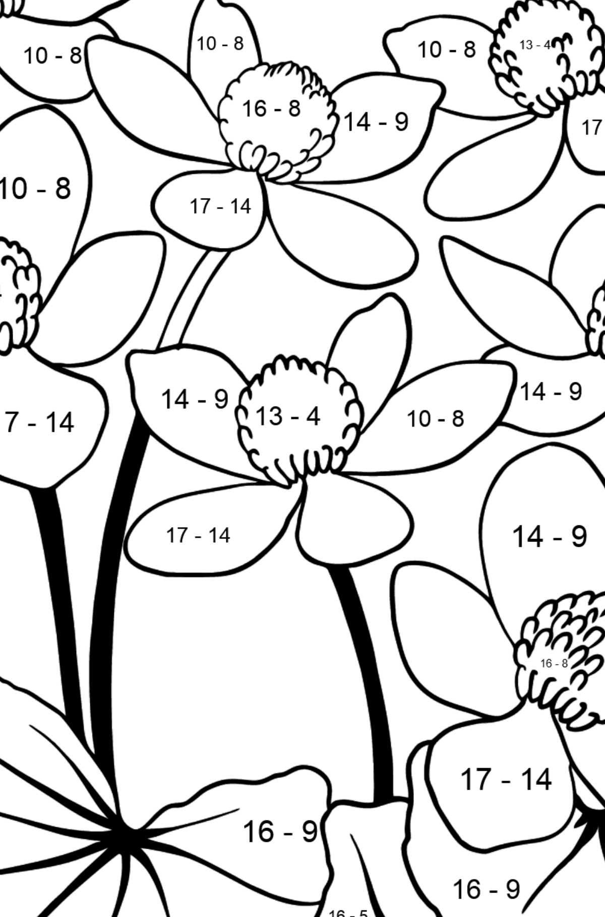 Flower Coloring Page - Marsh Marigold - Math Coloring - Subtraction for Kids
