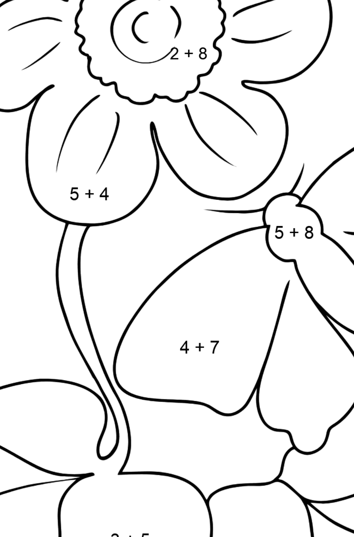 Coloring Page - flowers and butterfly - Math Coloring - Addition for Kids