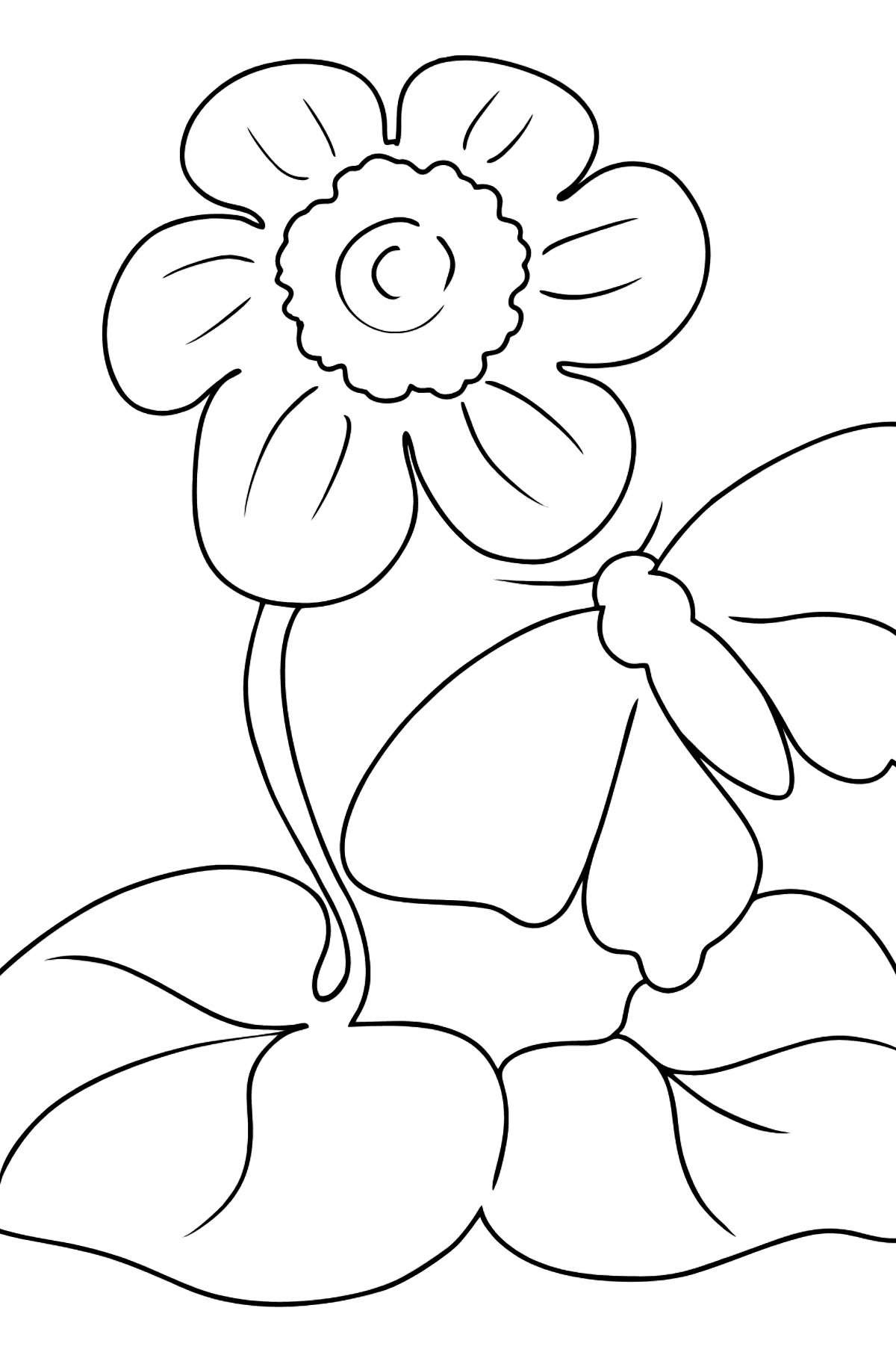 Coloring Page - flowers and butterfly - Coloring Pages for Kids
