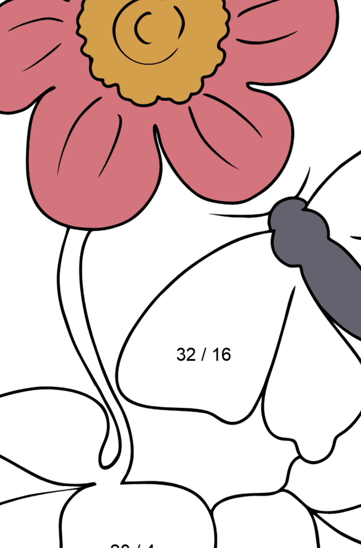 Coloring Page - flowers and butterfly - Math Coloring - Division for Kids