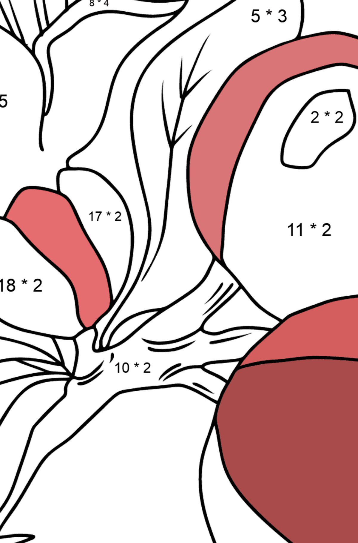 Coloring Page - flowers and fruits - Math Coloring - Multiplication for Kids